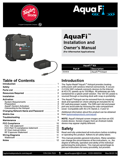AquaFi Installation and Owner's Manual