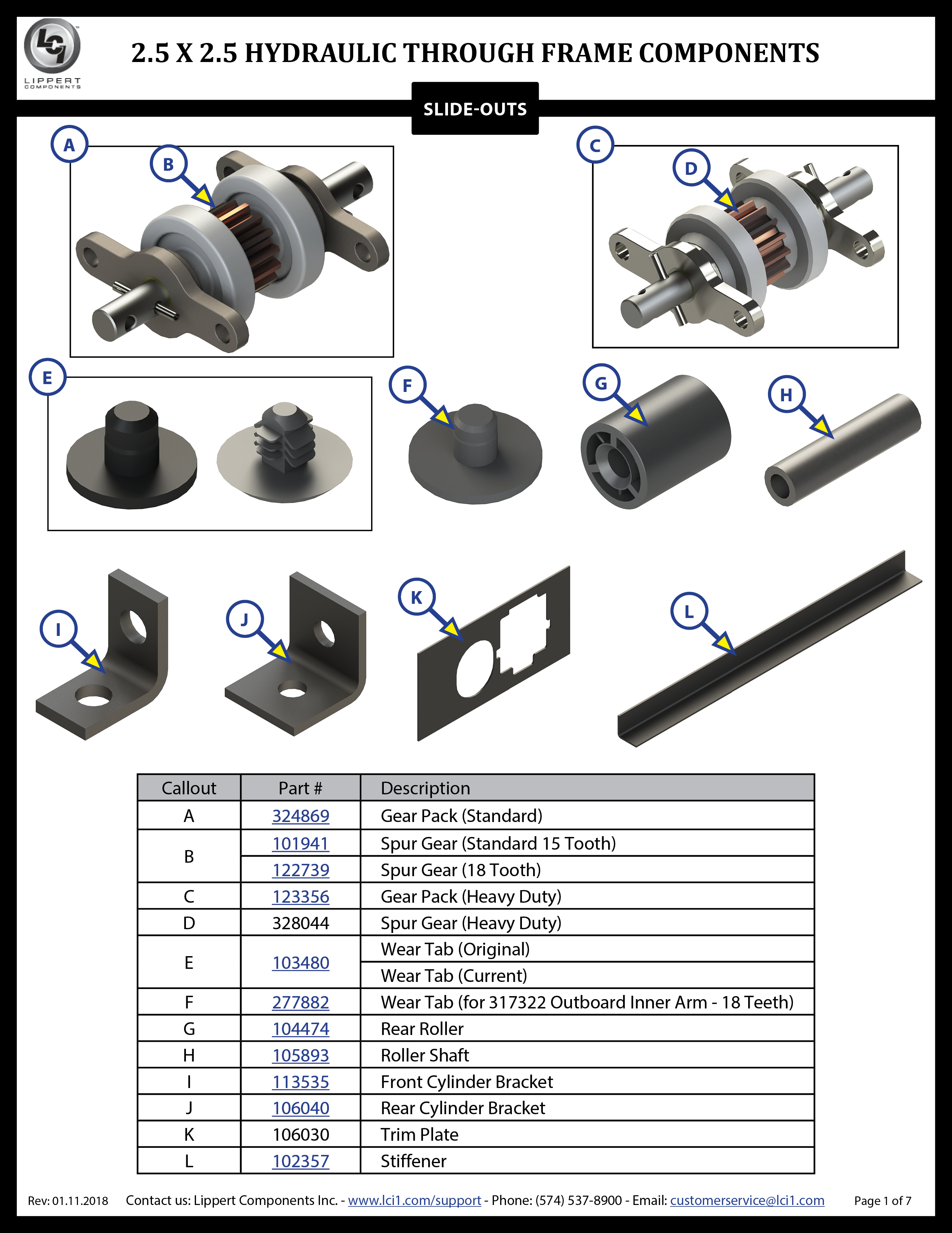 2.5 x 2.5 Hydraulic Through Frame Slide-Out Components Webpage