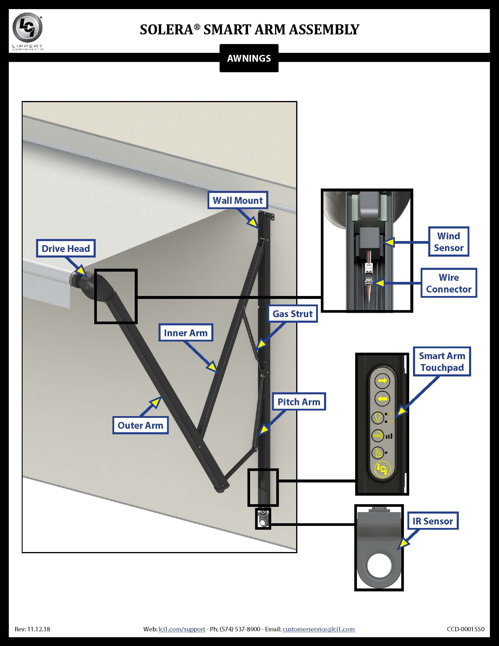 Solera® Awning Smart Arm™ Assembly