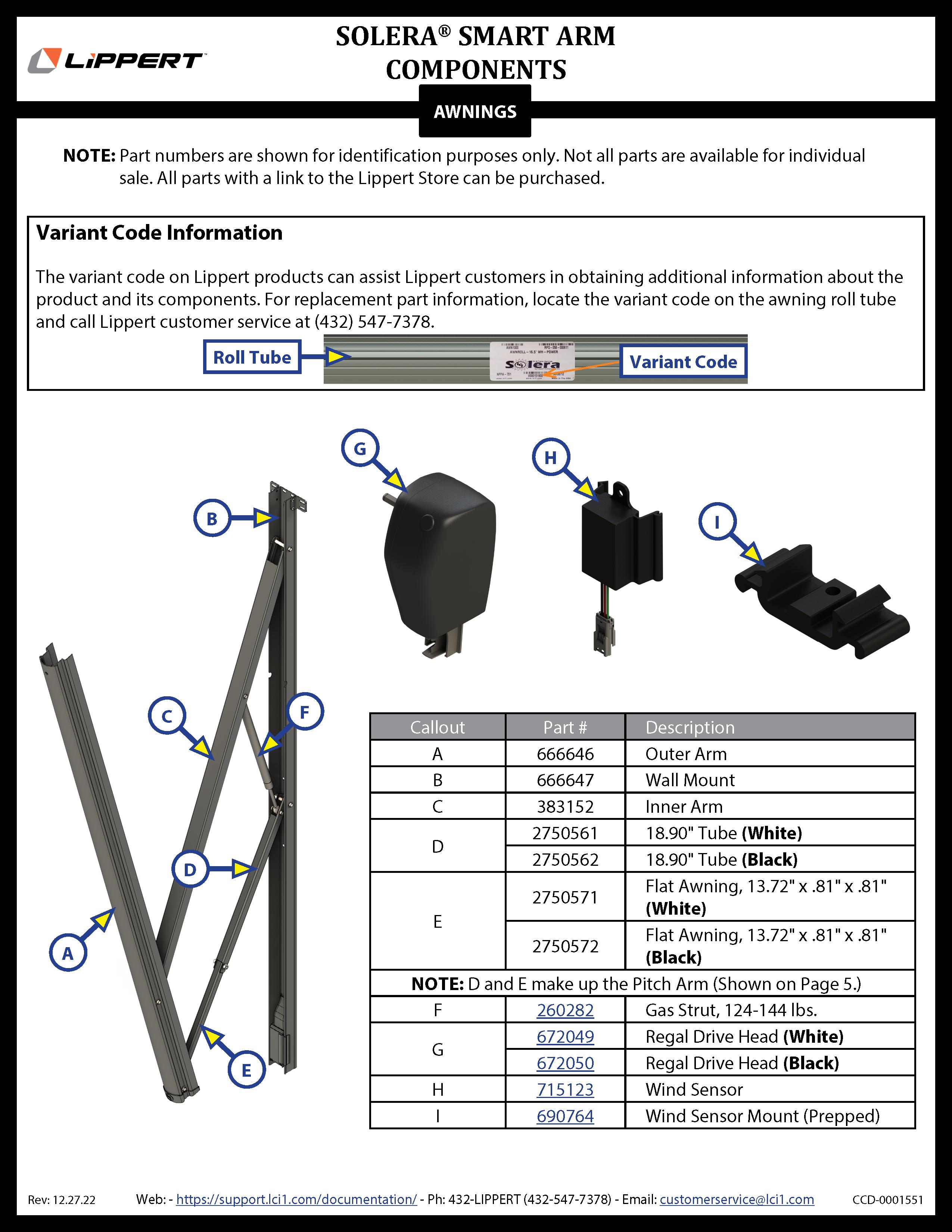 Solera® Smart Arm™ Components