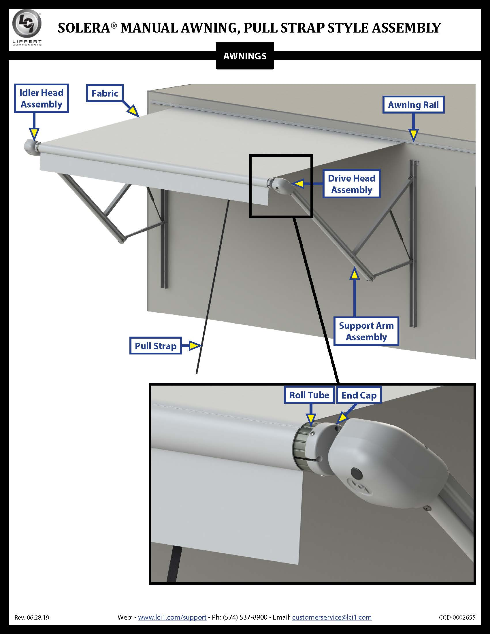 Solera® Manual Awning, Pull Strap Style Assembly