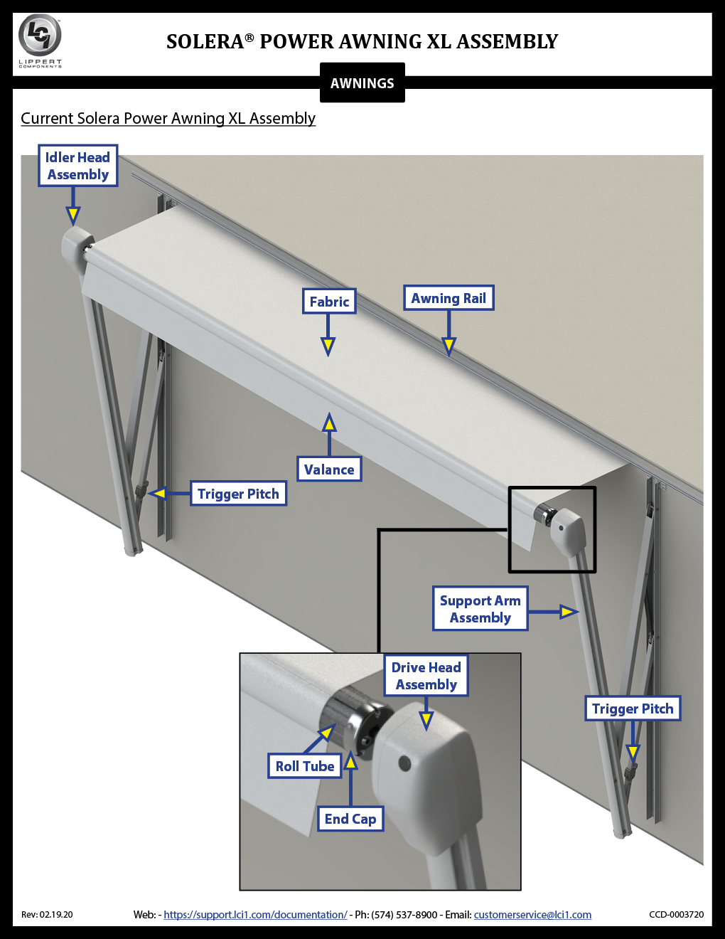Solera® Power Awning XL Awning Assembly