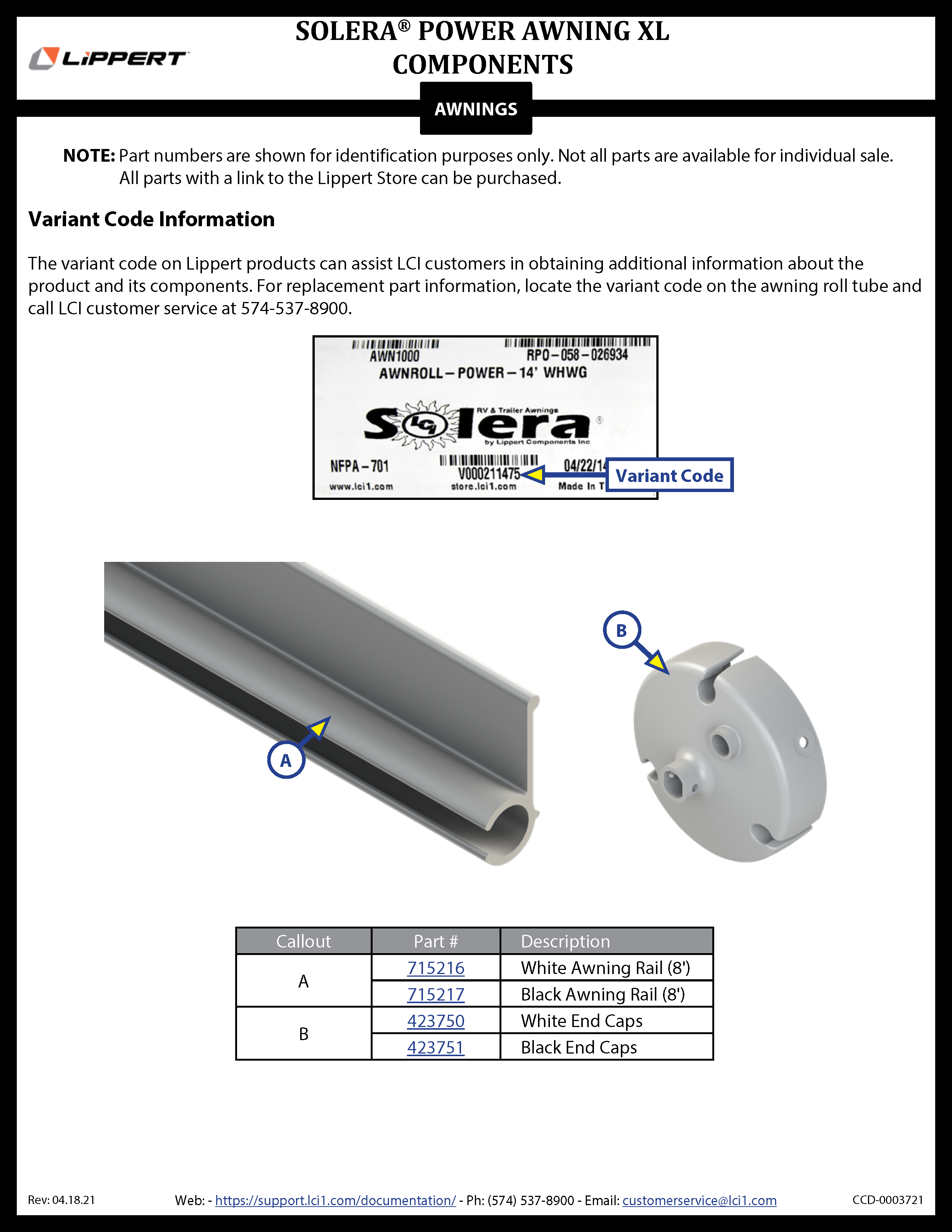 Solera® Power Awning XL Components