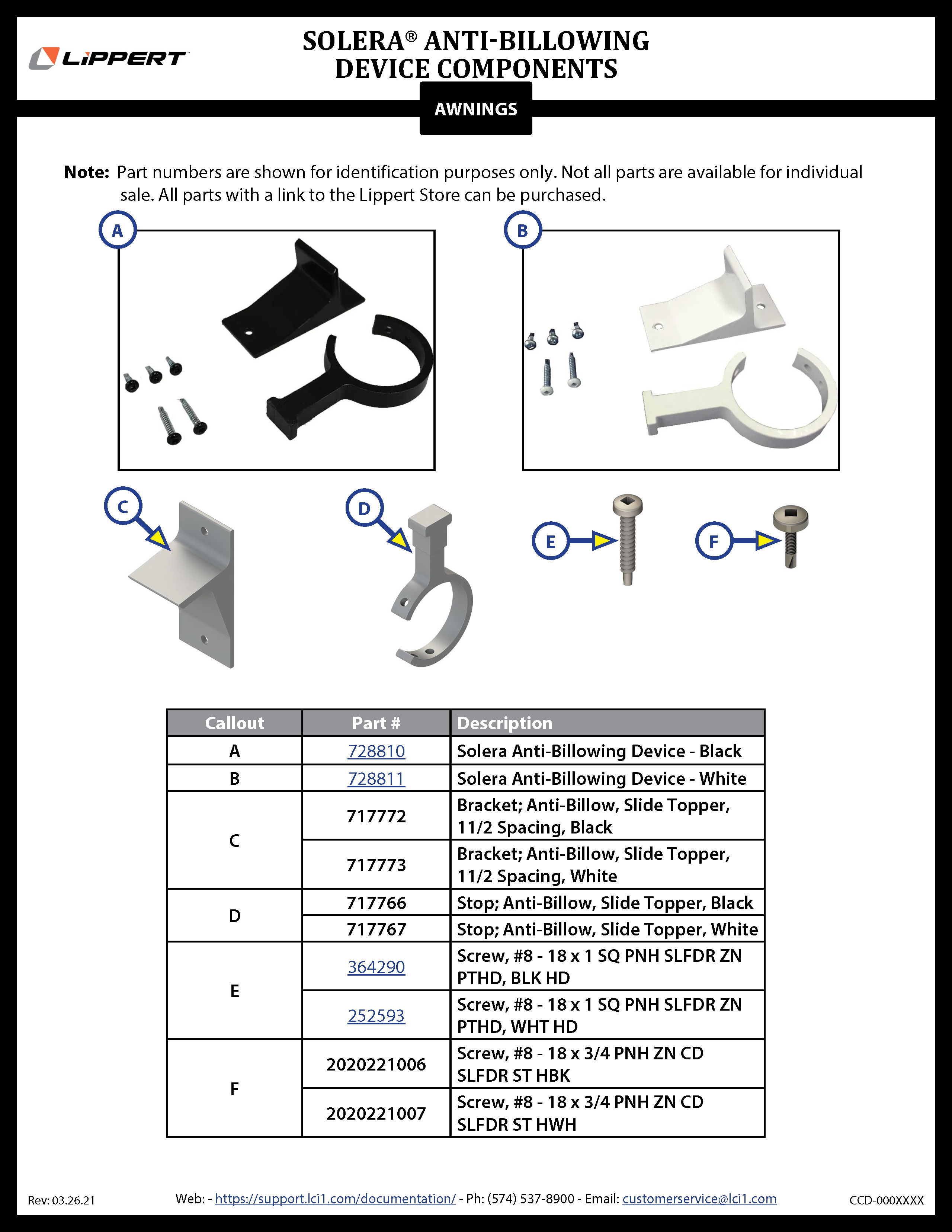 Solera® Anti-Billowing Device Components
