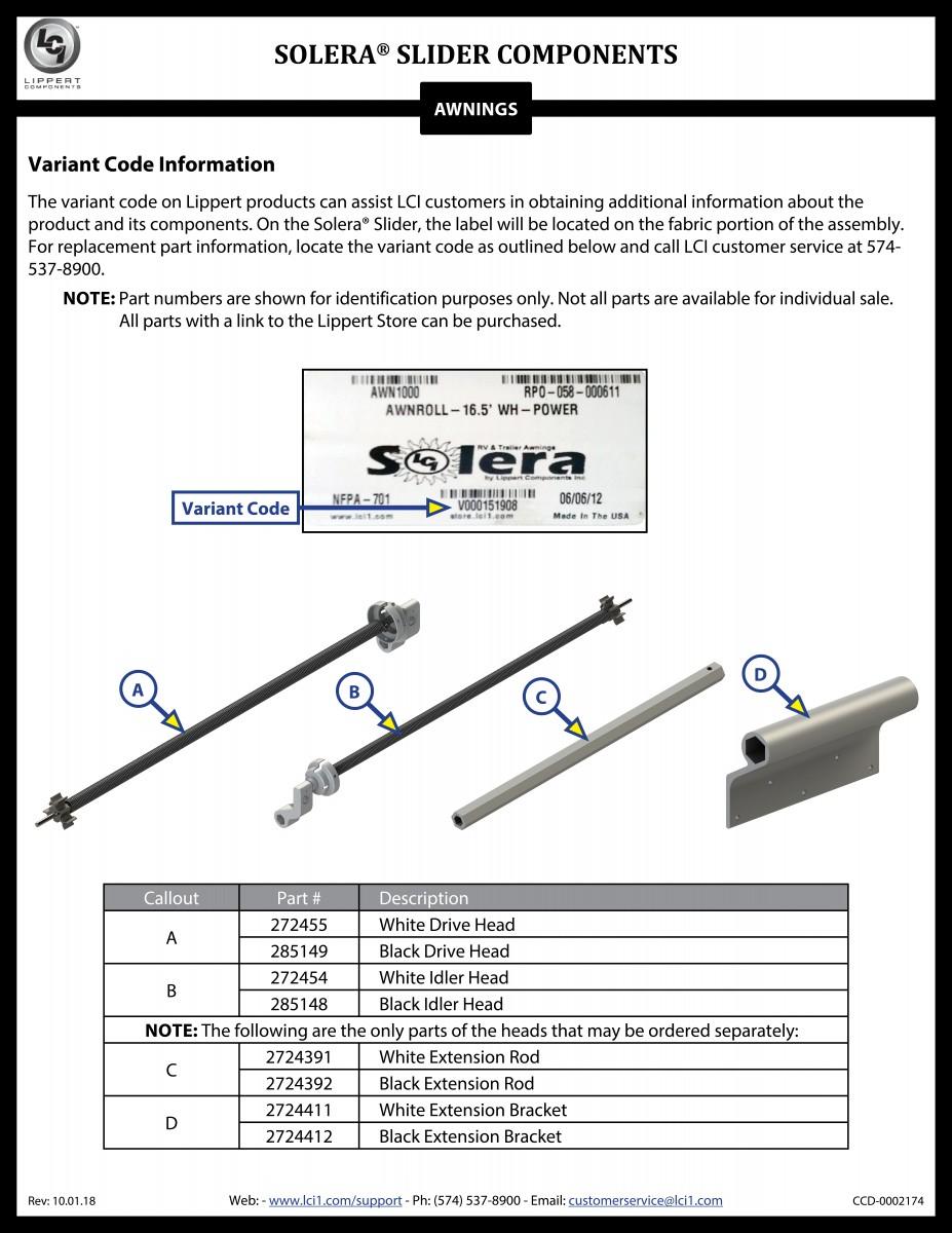 Solera® Slide Topper Components