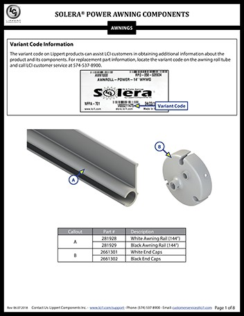 Solera® Power Awning Components