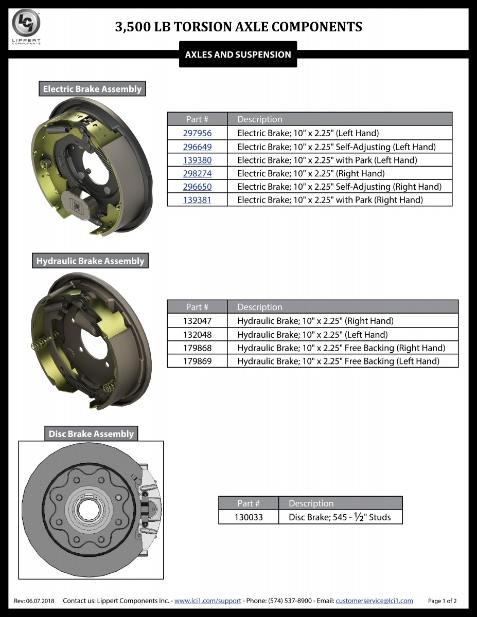 3,500-LB Torsion Axle Components