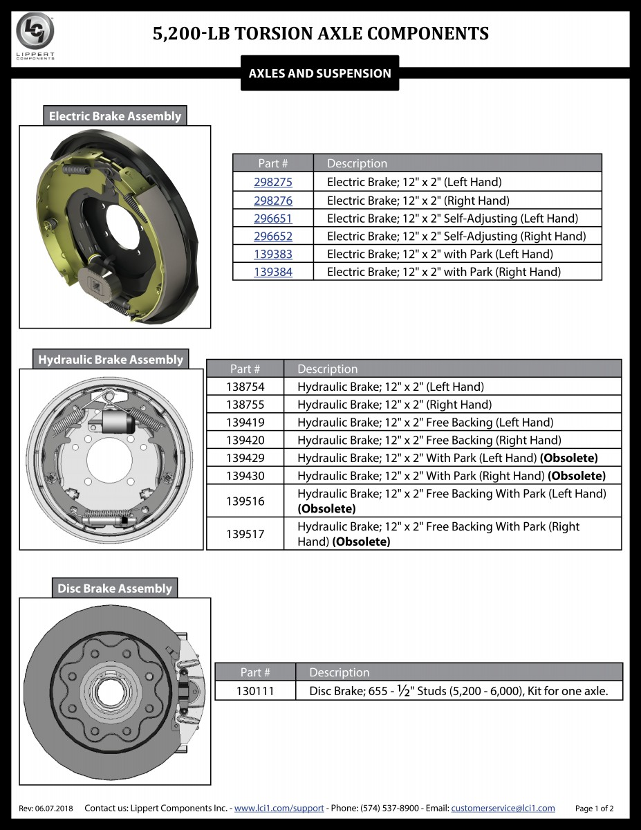 5,200-LB Torsion Axle Components