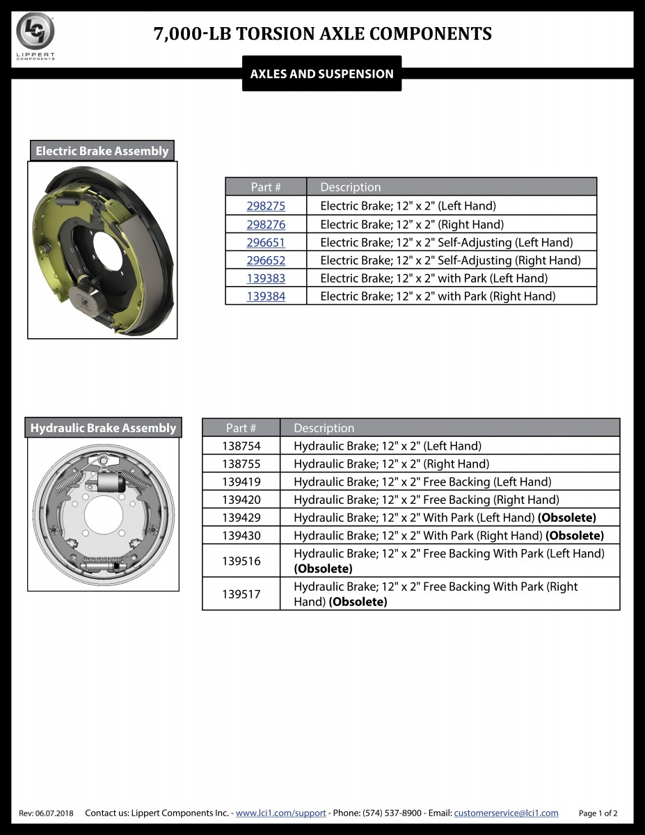 7,000-LB Torsion Axle Components