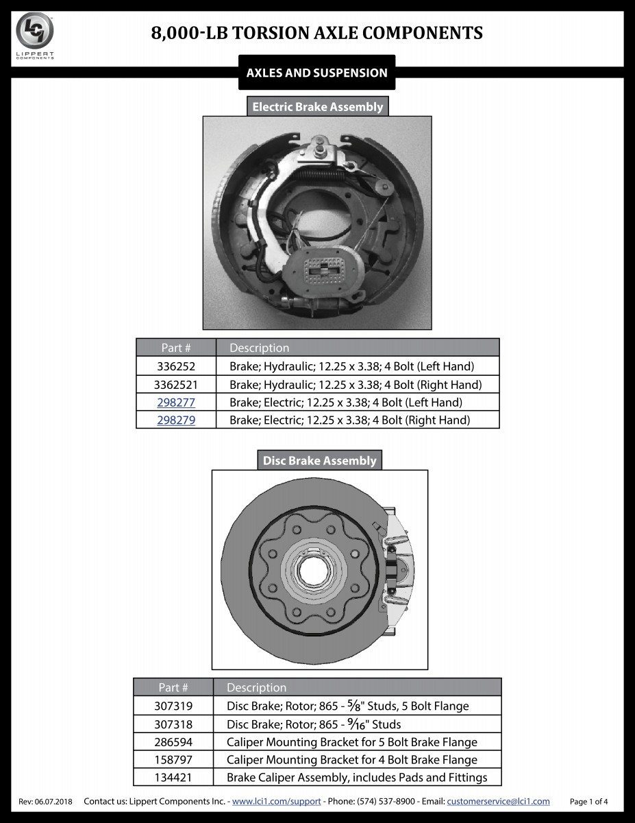 8,000-LB Torsion Axle Components