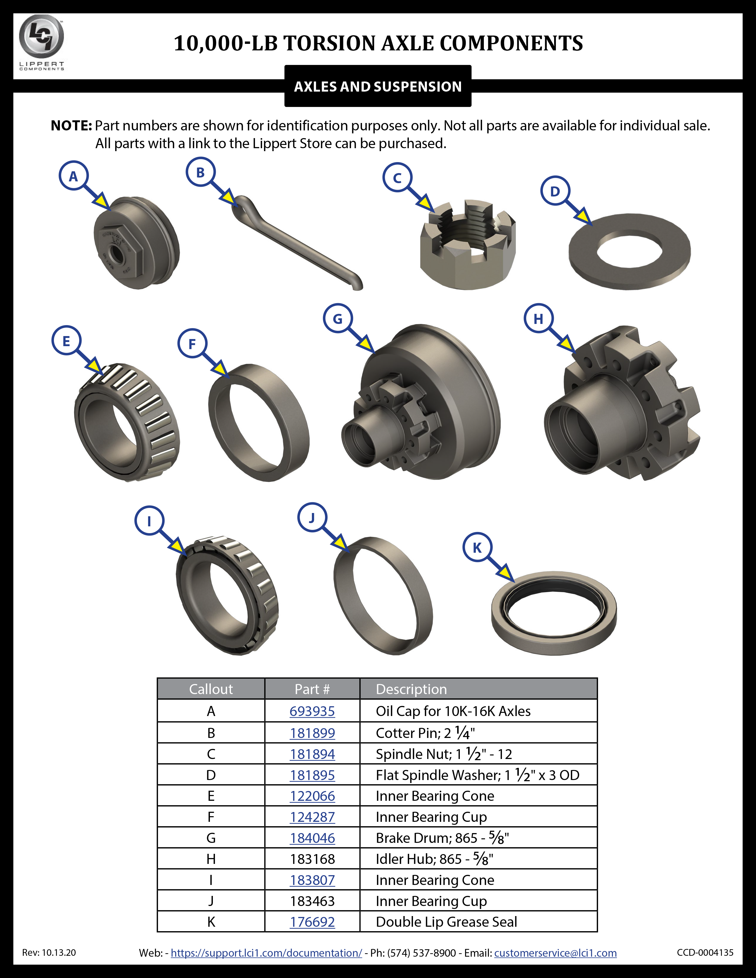 10,000-LB Torsion Axle Components