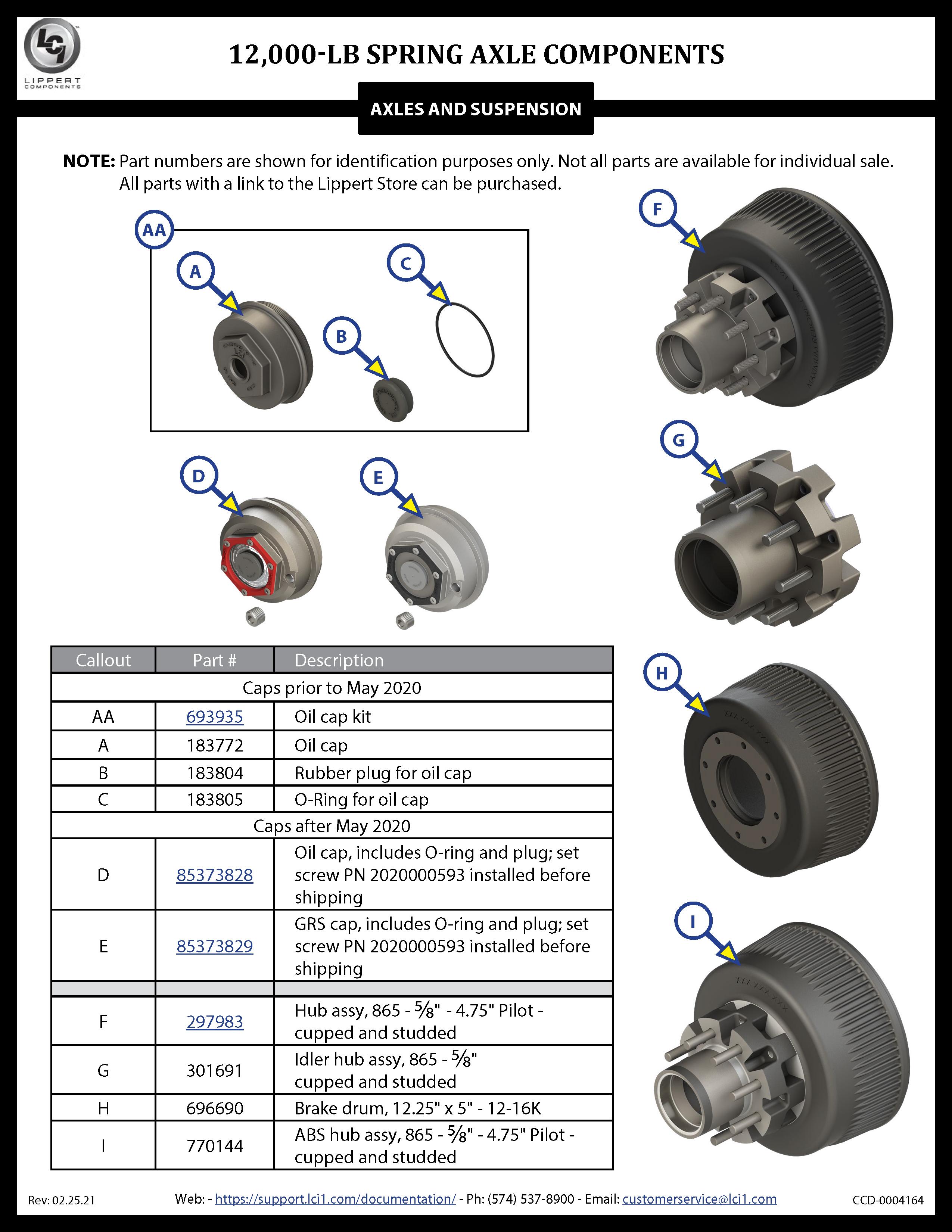 12,000-LB Spring Axle Components