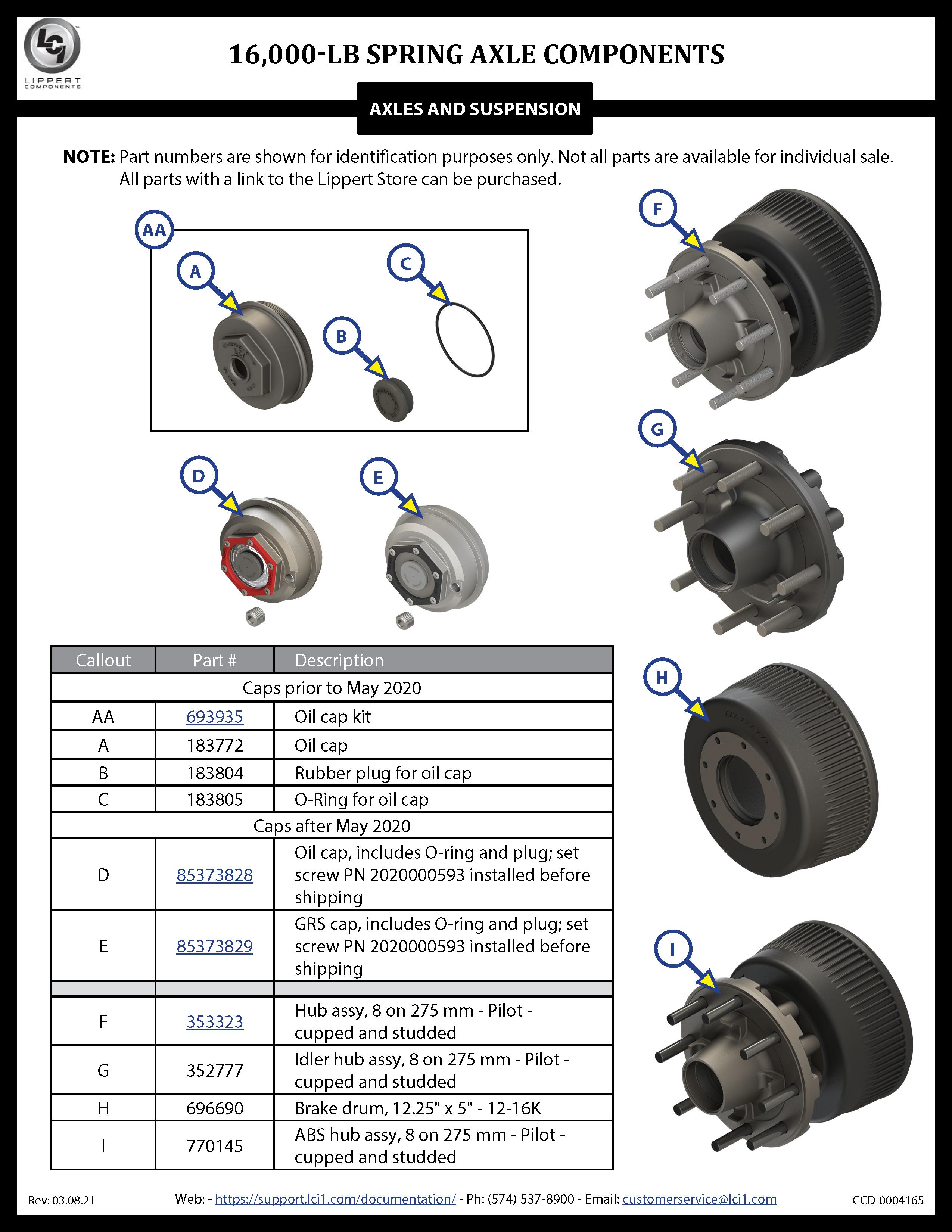 16,000-LB Spring Axle Components