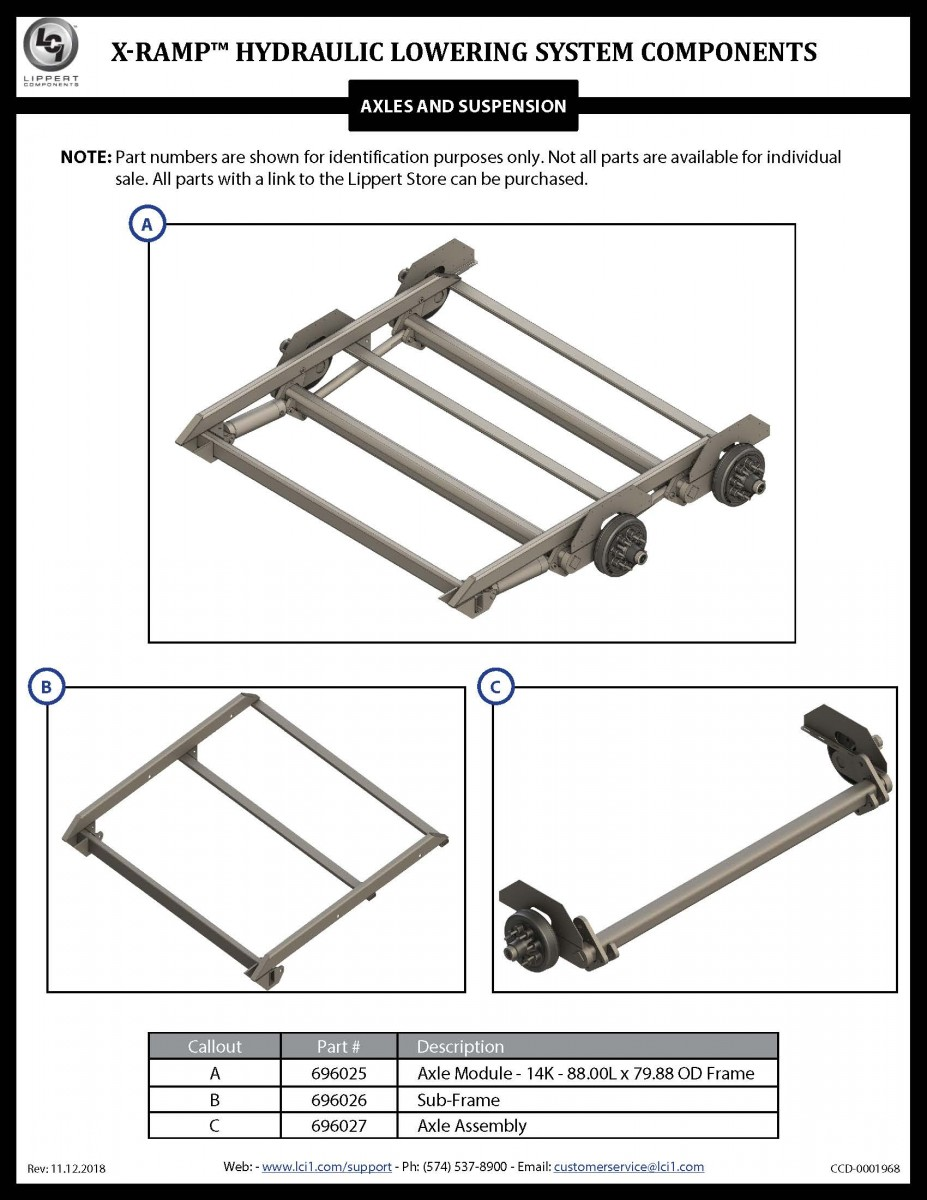 X-Ramp™ Hydraulic Lowering System Components