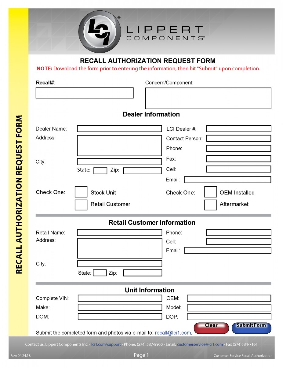 Customer Service Recall Authorization Form