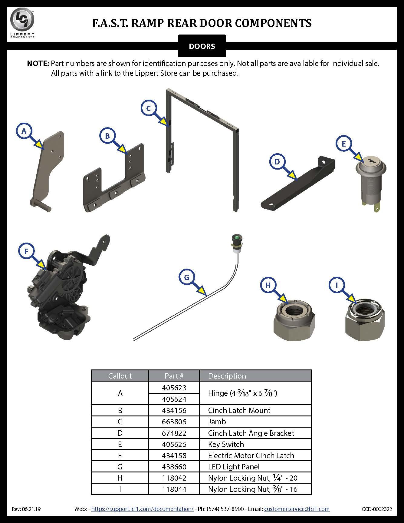 F.A.S.T. Ramp Rear Door Components