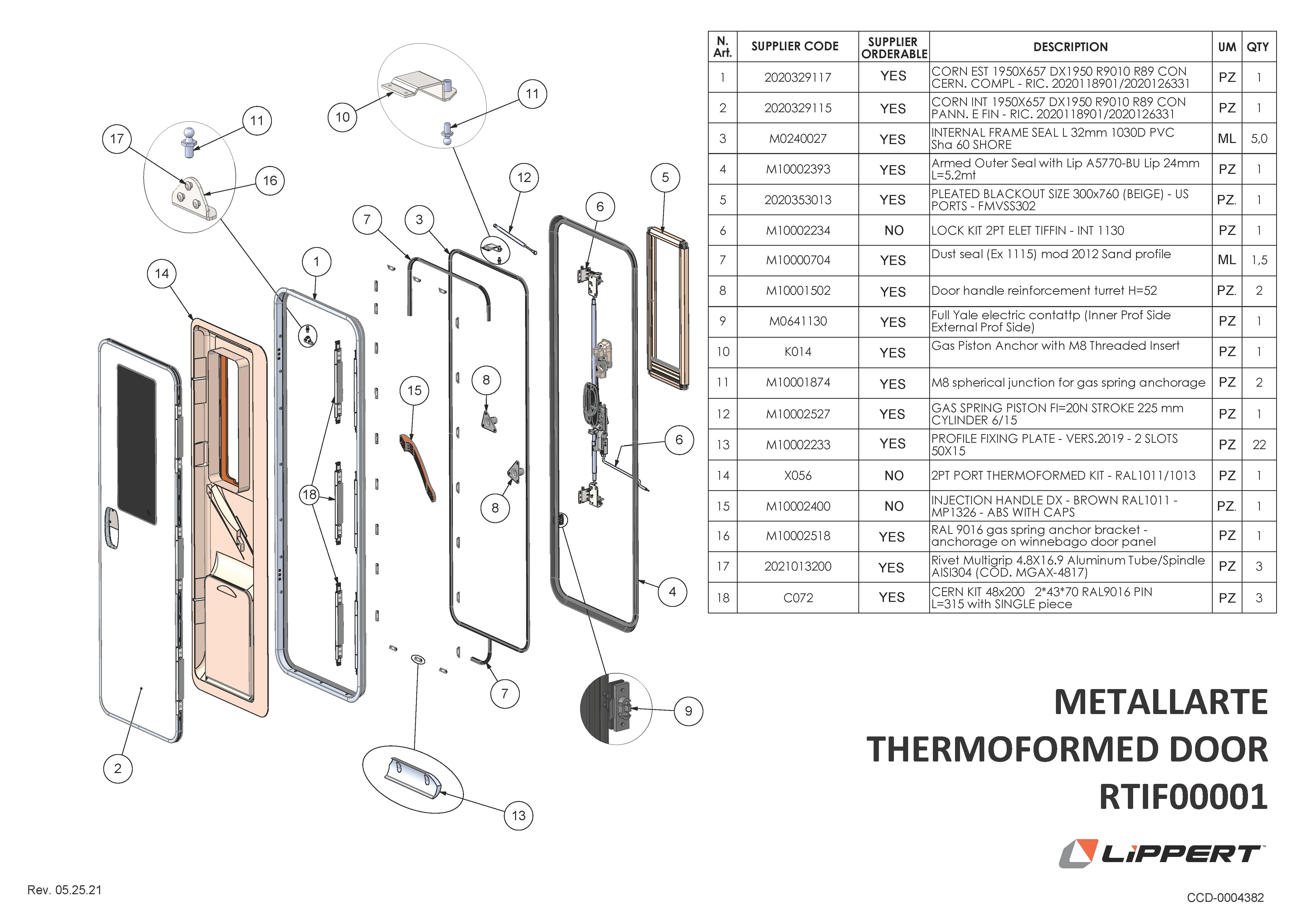 Metallarte Thermoformed Door RTIF00001 Components