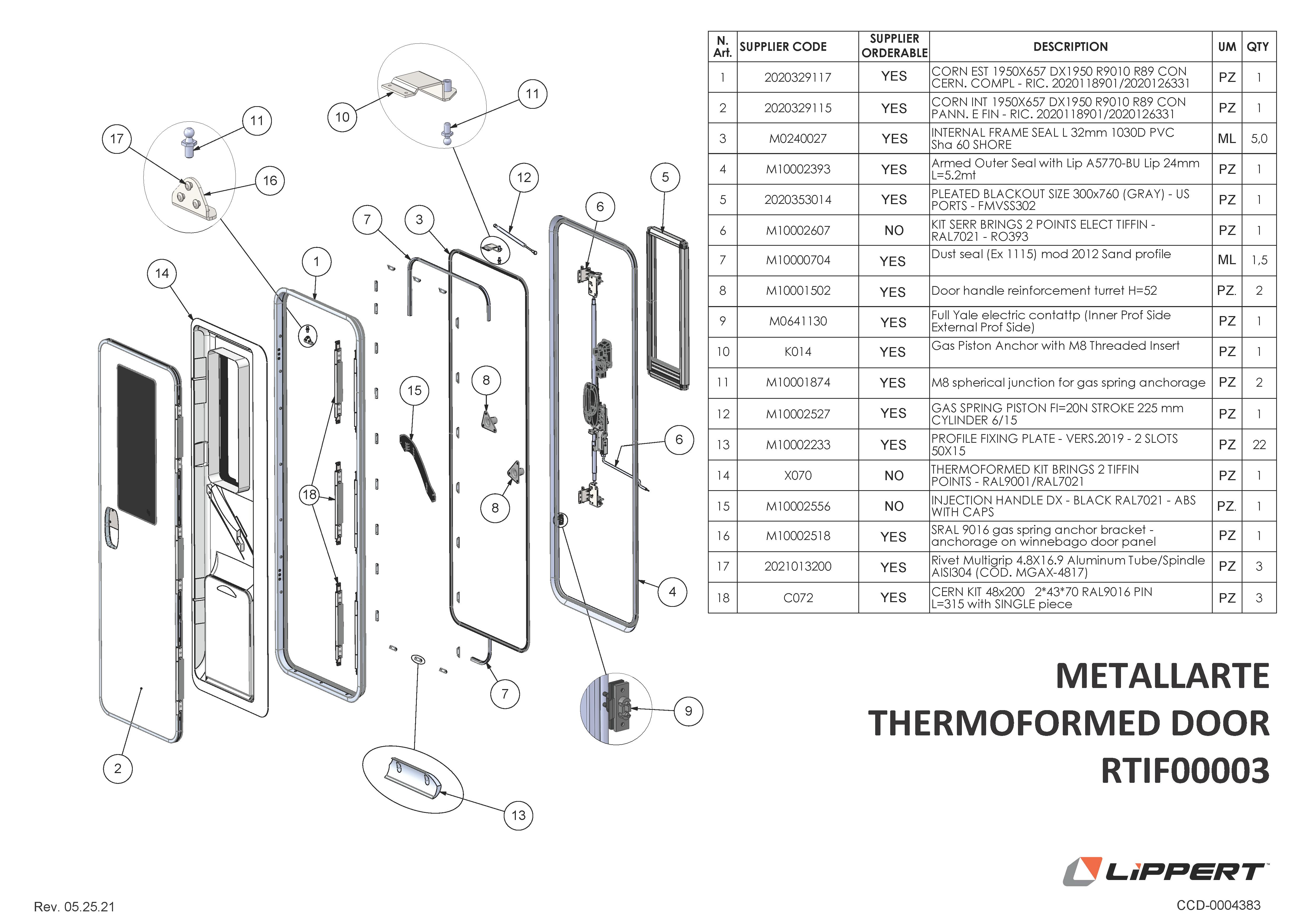 Metallarte Thermoformed Door RTIF00003 Components