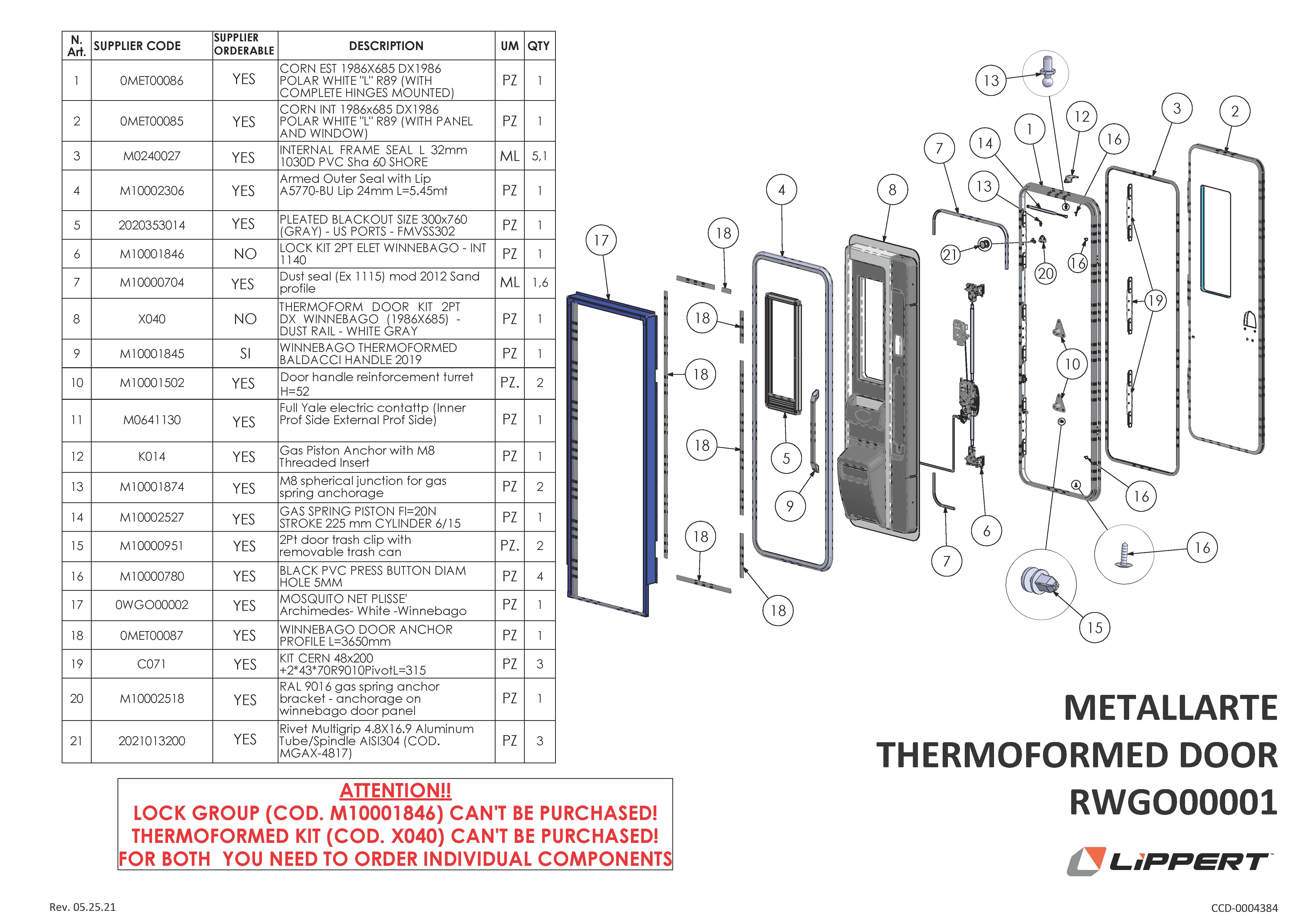Metallarte Thermoformed Door RWGO00001 Components