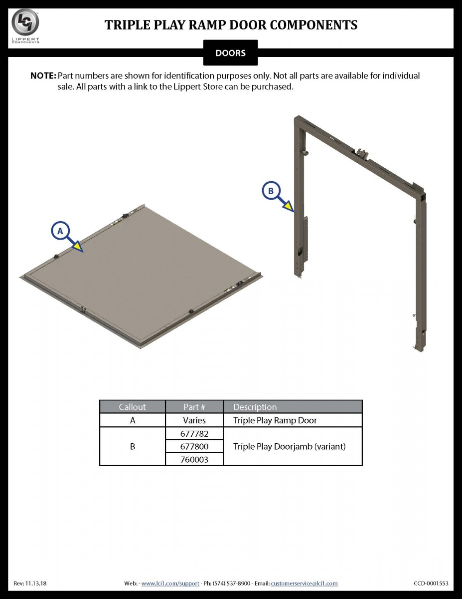 Triple Play™ Ramp Door Components