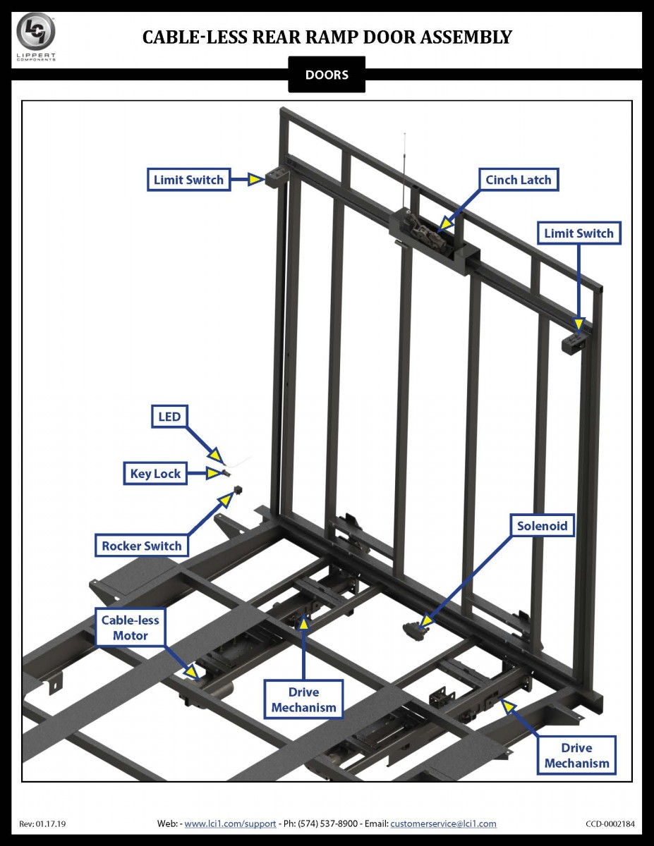 Cable-less Rear Ramp Door Assembly