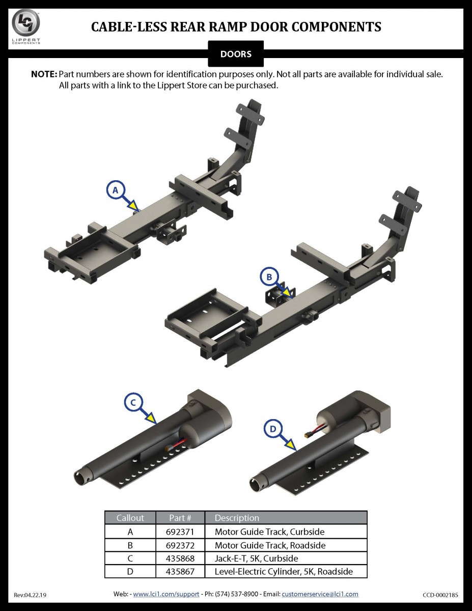 Cable-less Rear Ramp Door Components
