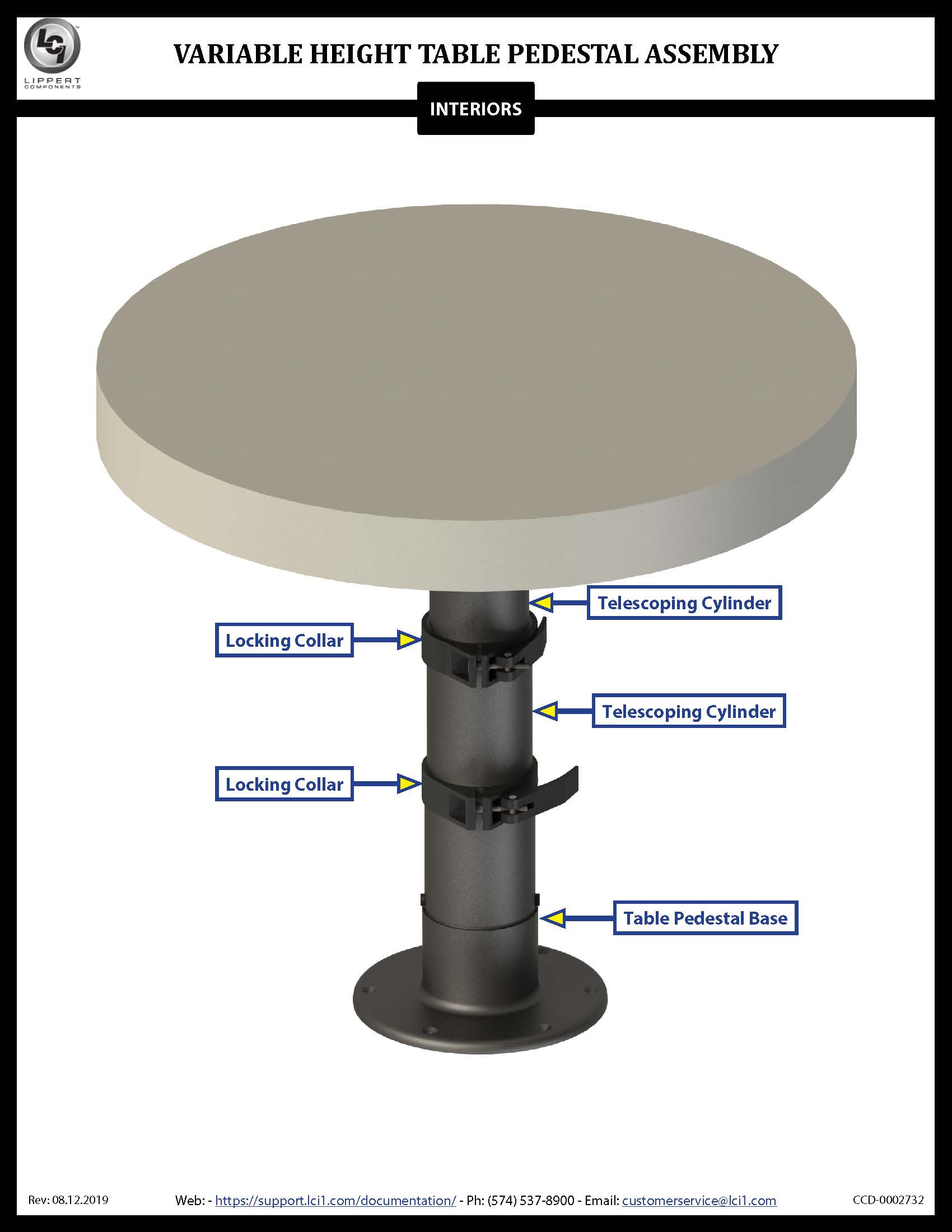 Variable Height Table Pedestal Assembly