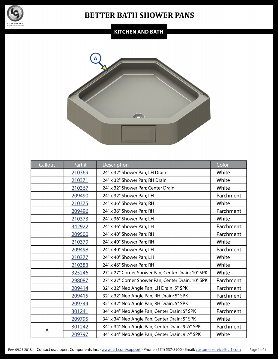 Better Bath® Shower Pan Components
