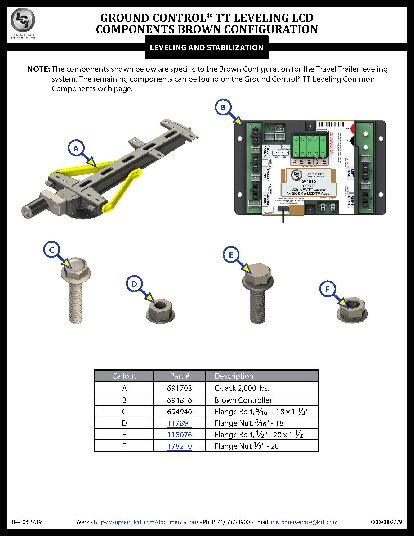 Ground Control® TT Leveling LCD Brown Configuration Components