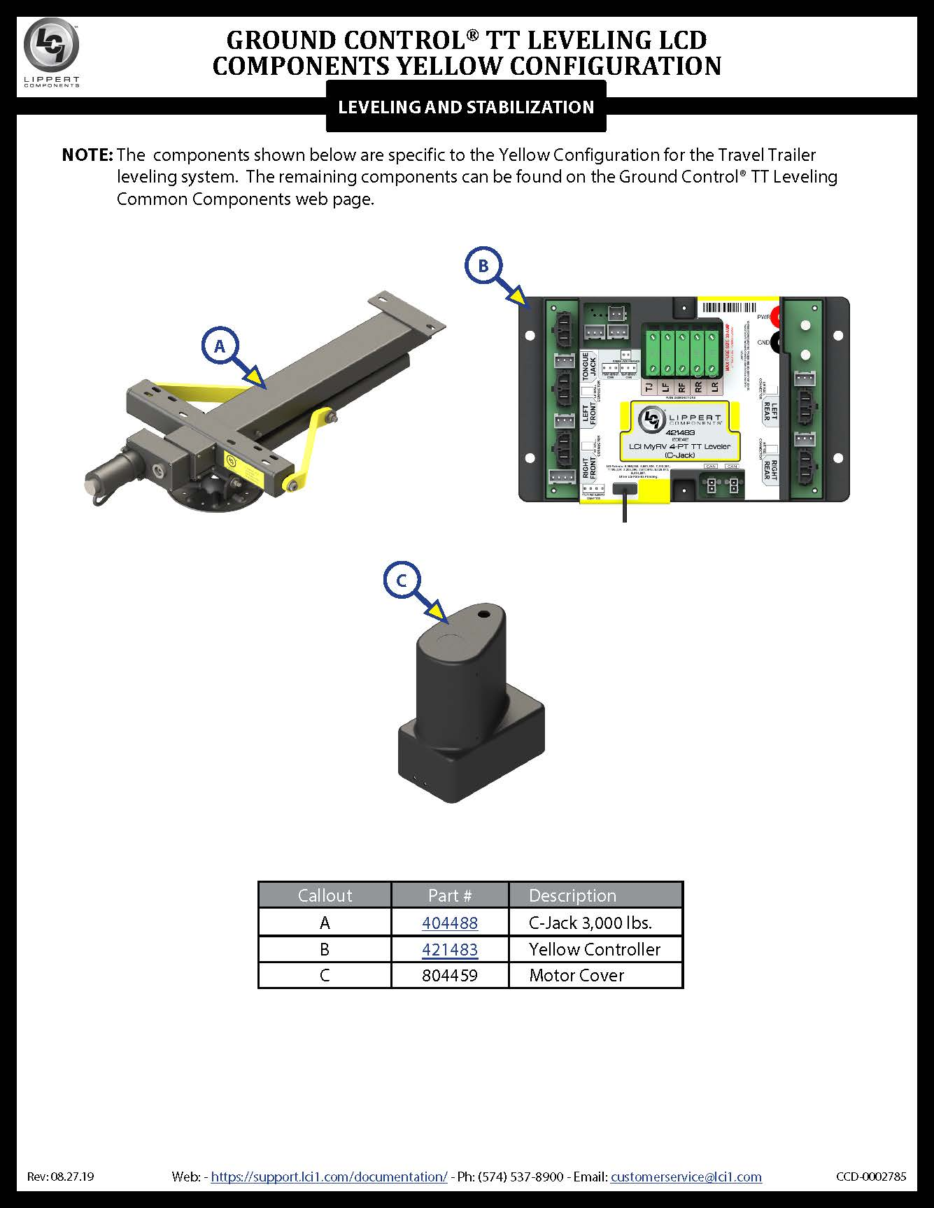 Ground Control® TT Leveling LCD Yellow Configuration Components
