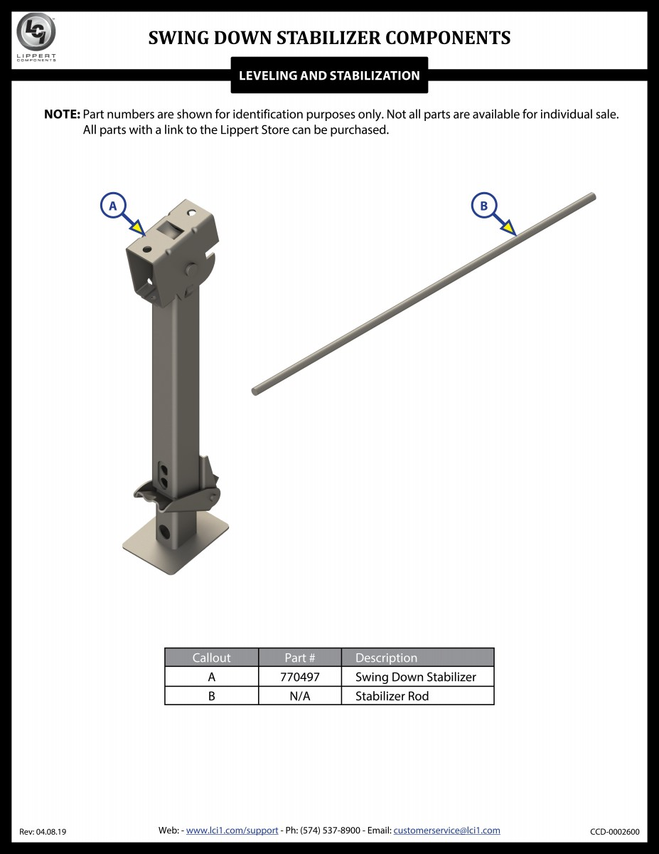 Swing Down Stabilizer Components