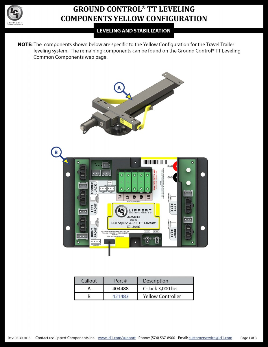 Ground Control® LCD TT Leveling Yellow Configuration Components
