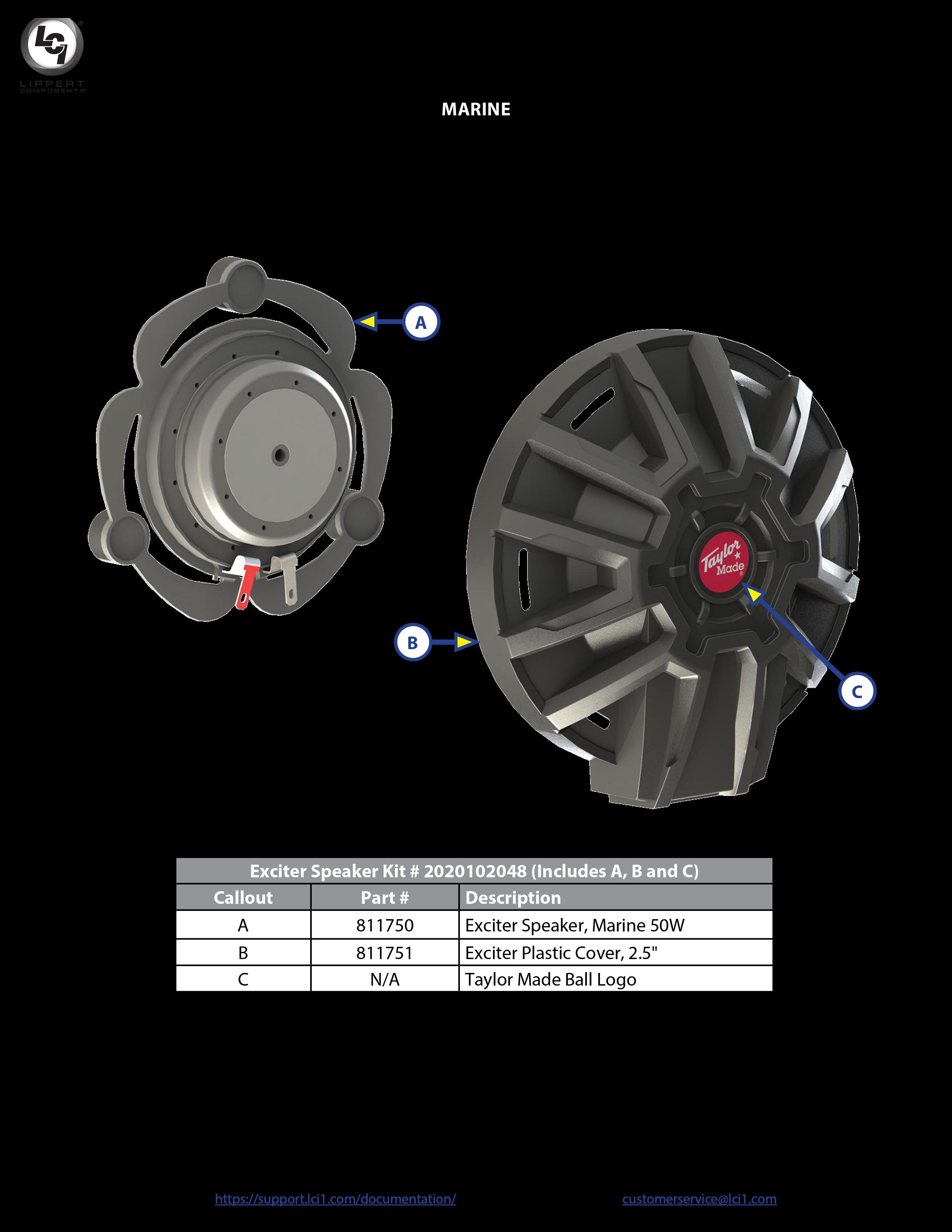 Taylor Made® Exciter Speaker Components