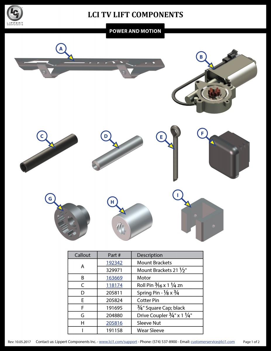 LCI® TV Lift Components
