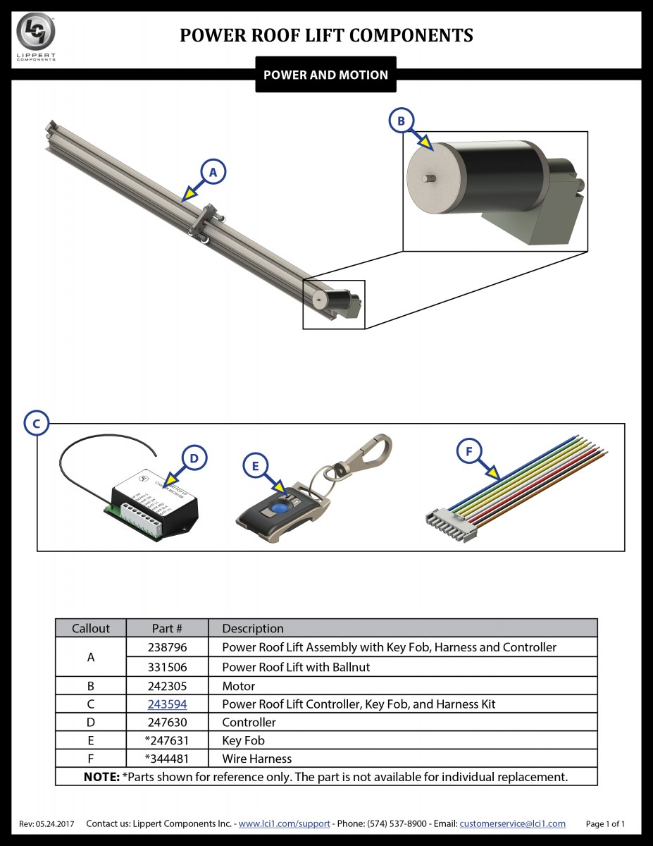 Power Roof Lift Components