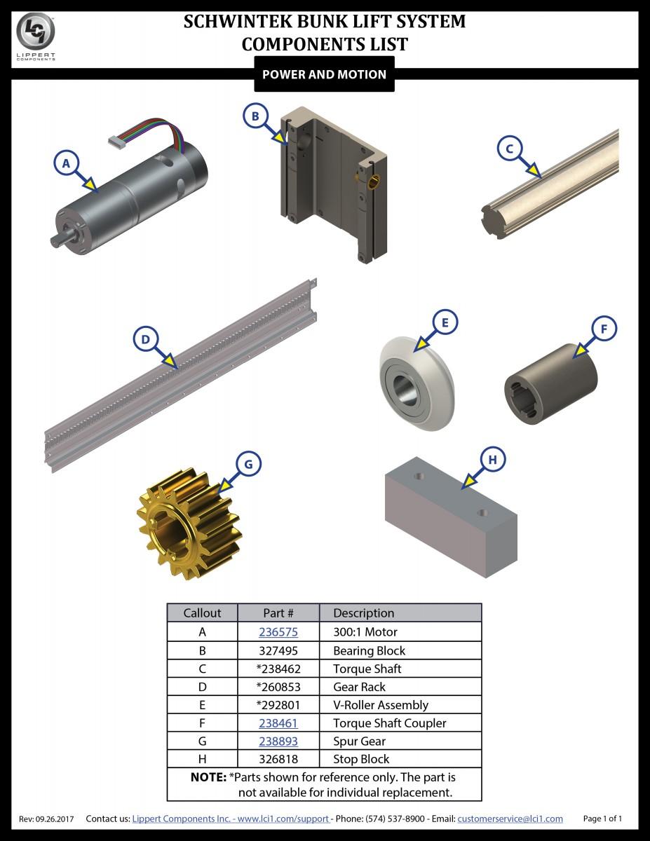 Schwintek Bunk Lift Components