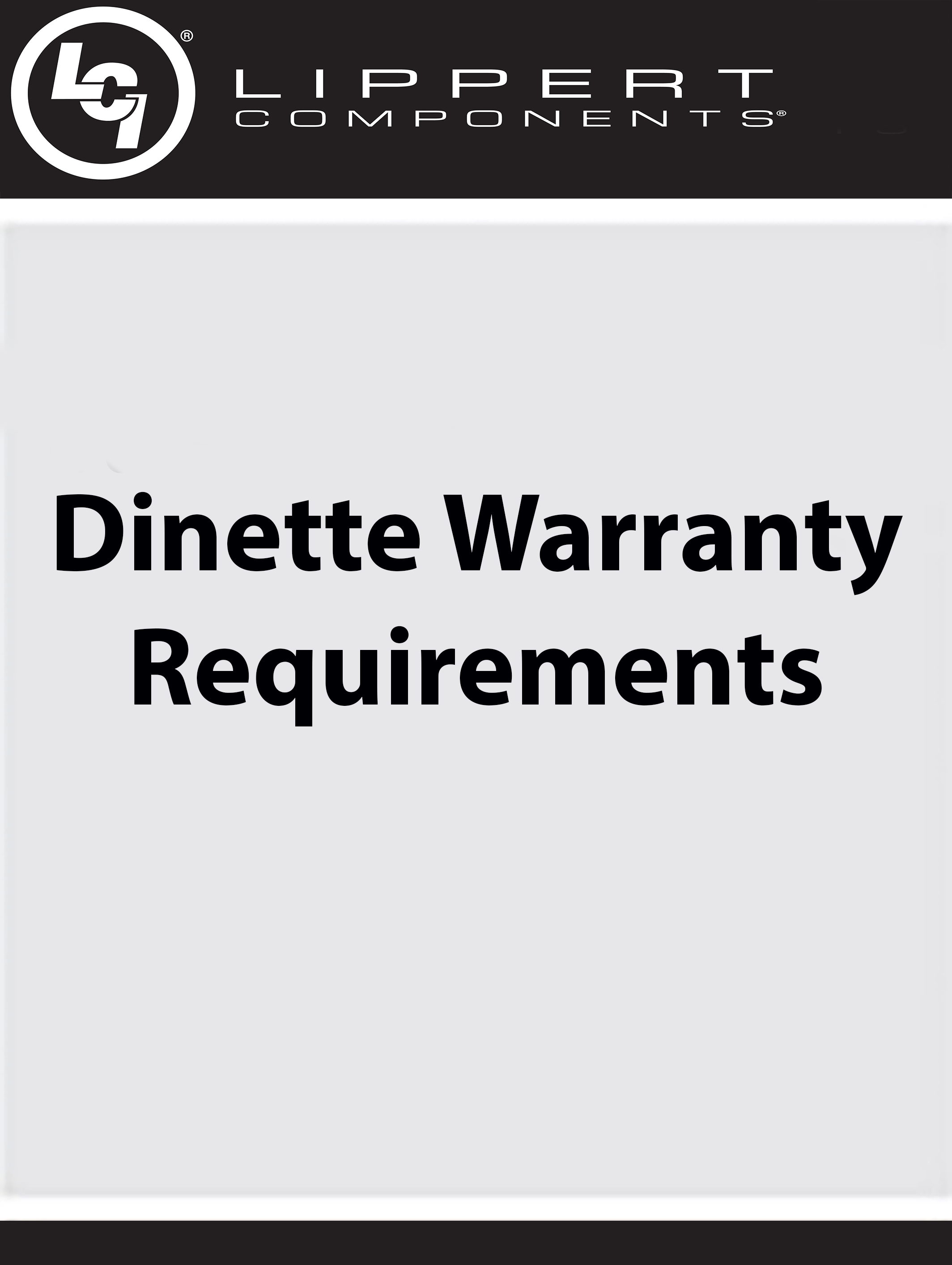 Dinette Warranty Requirements