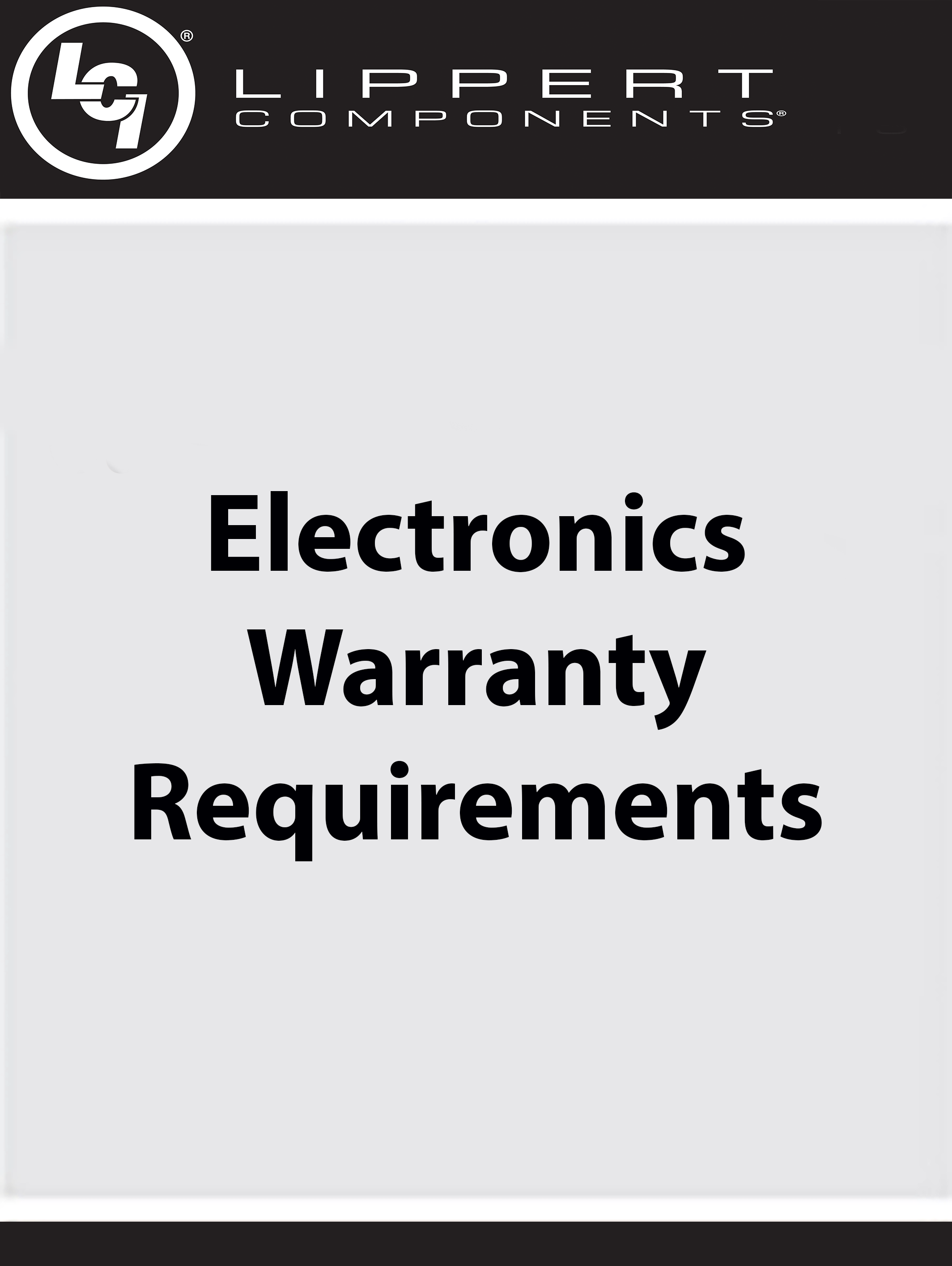 Electronics Warranty Requirements