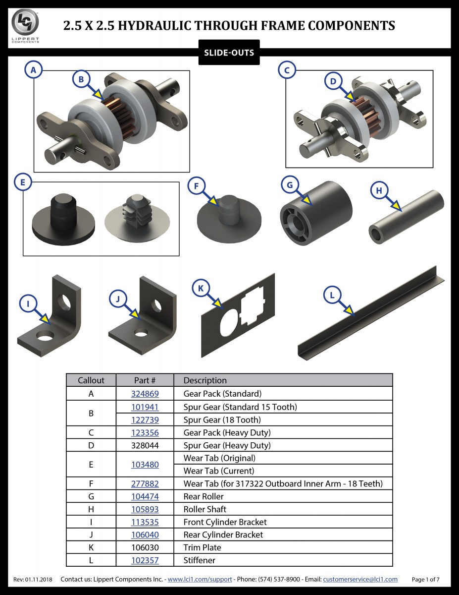 2.5 x 2.5 Hydraulic Through Frame Slide-Out Components