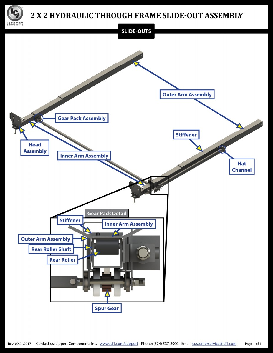 2 x 2 Hydraulic Through Frame Slide-Out Assembly