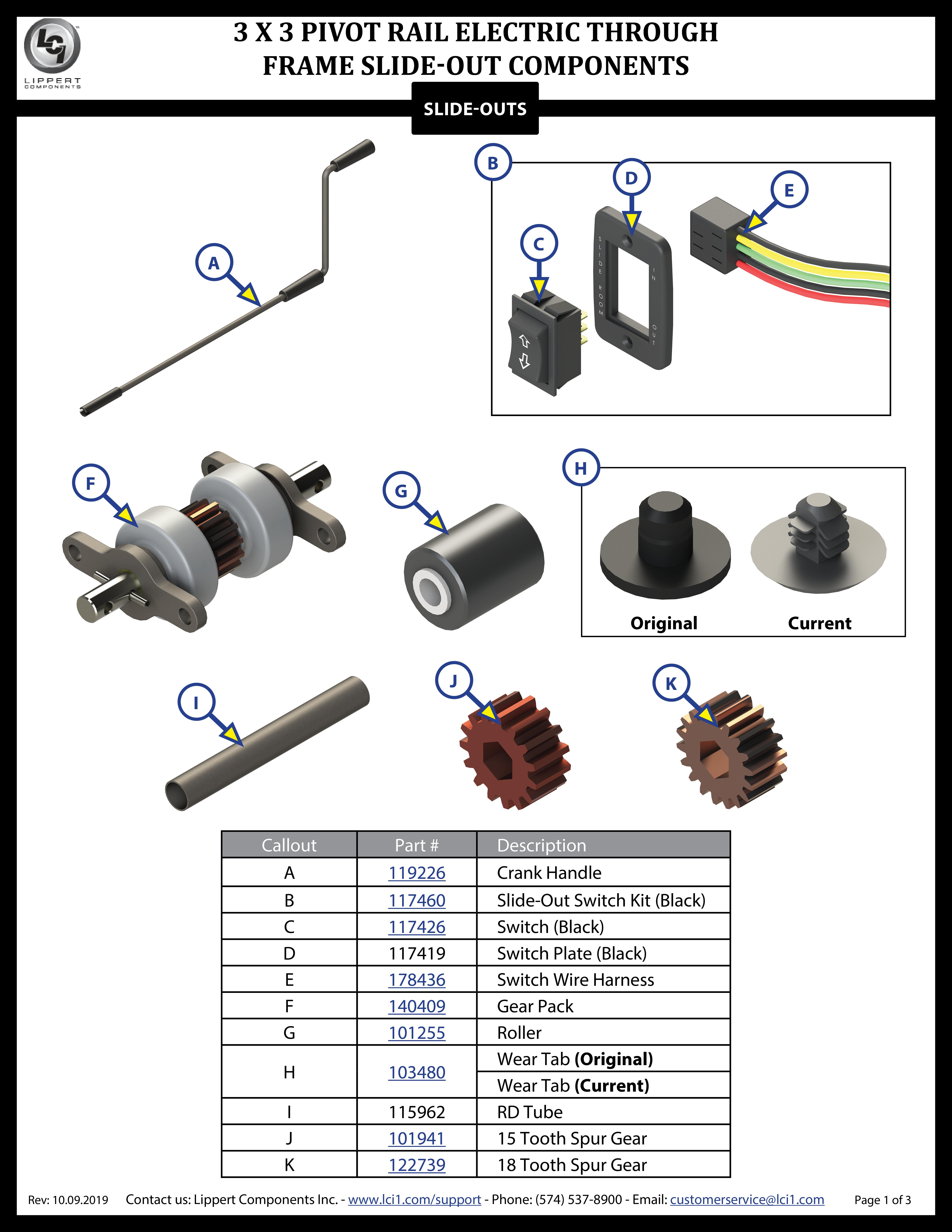 3 x 3 Electric Pivot Rail Slide-Out Components