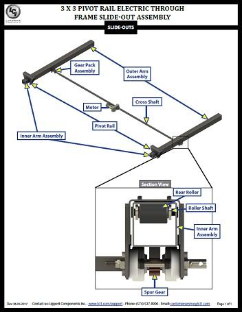 3 x 3 Electric Pivot Rail Slide-Out Assembly