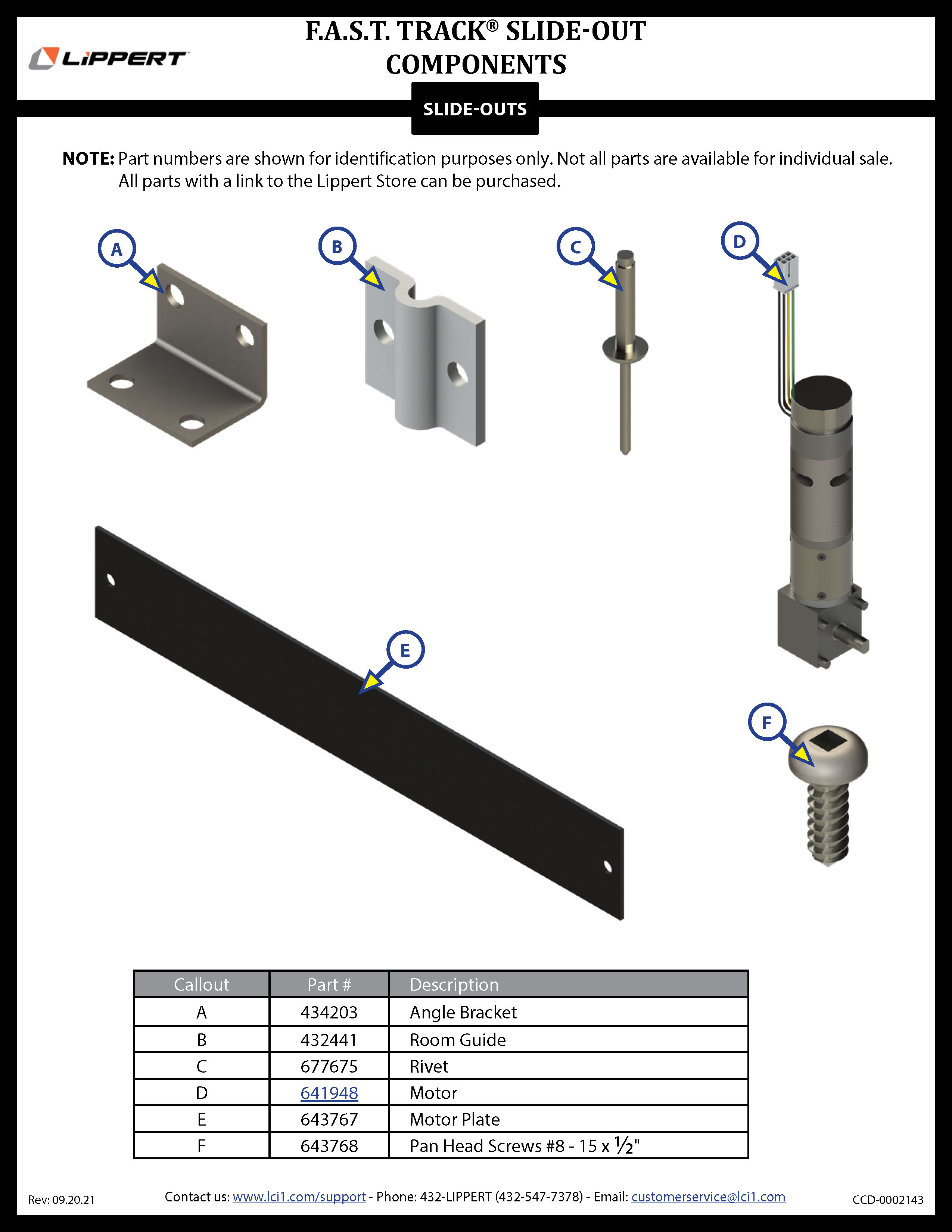 F.A.S.T. Track® Slide-Out Components
