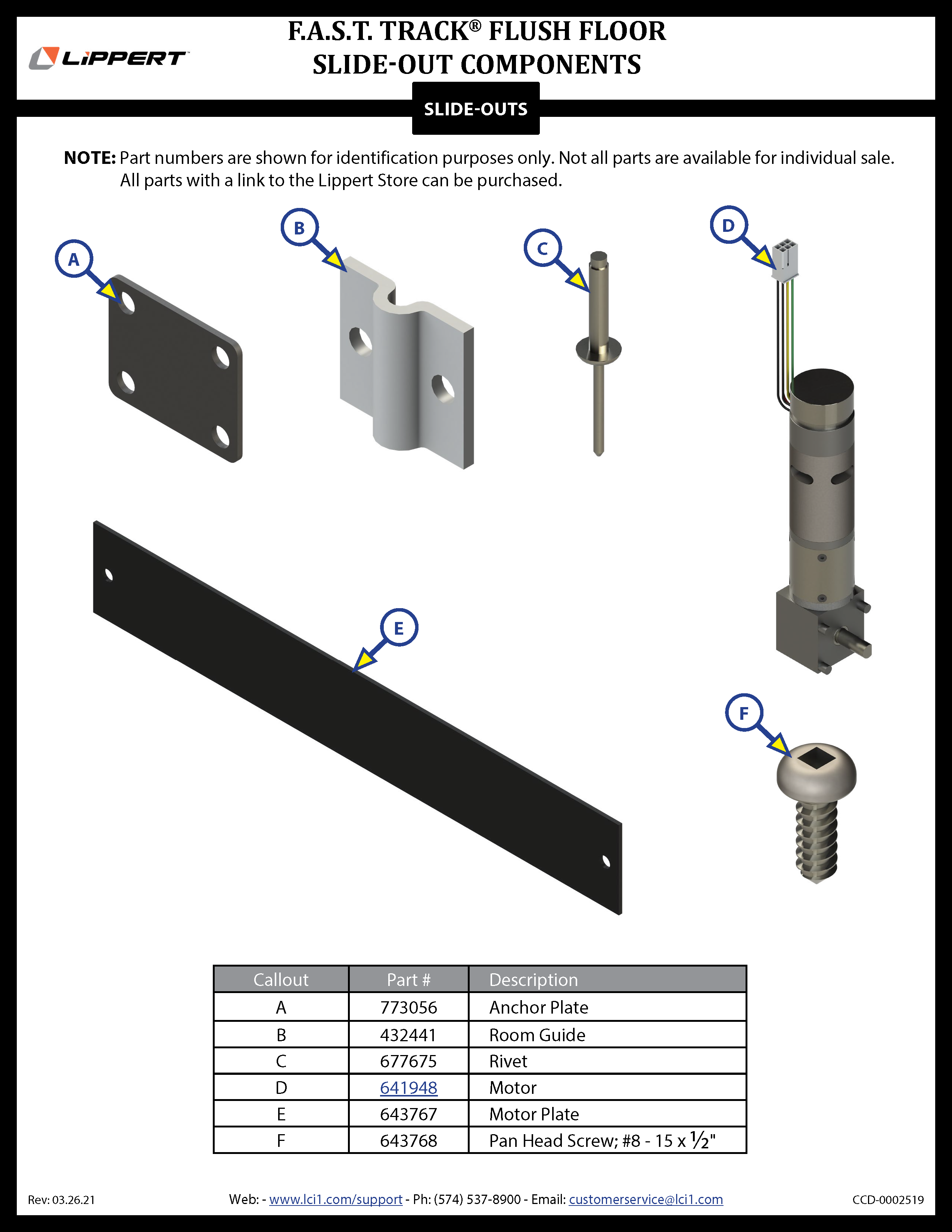 F.A.S.T. Track®  Flush Floor Slide-Out Components