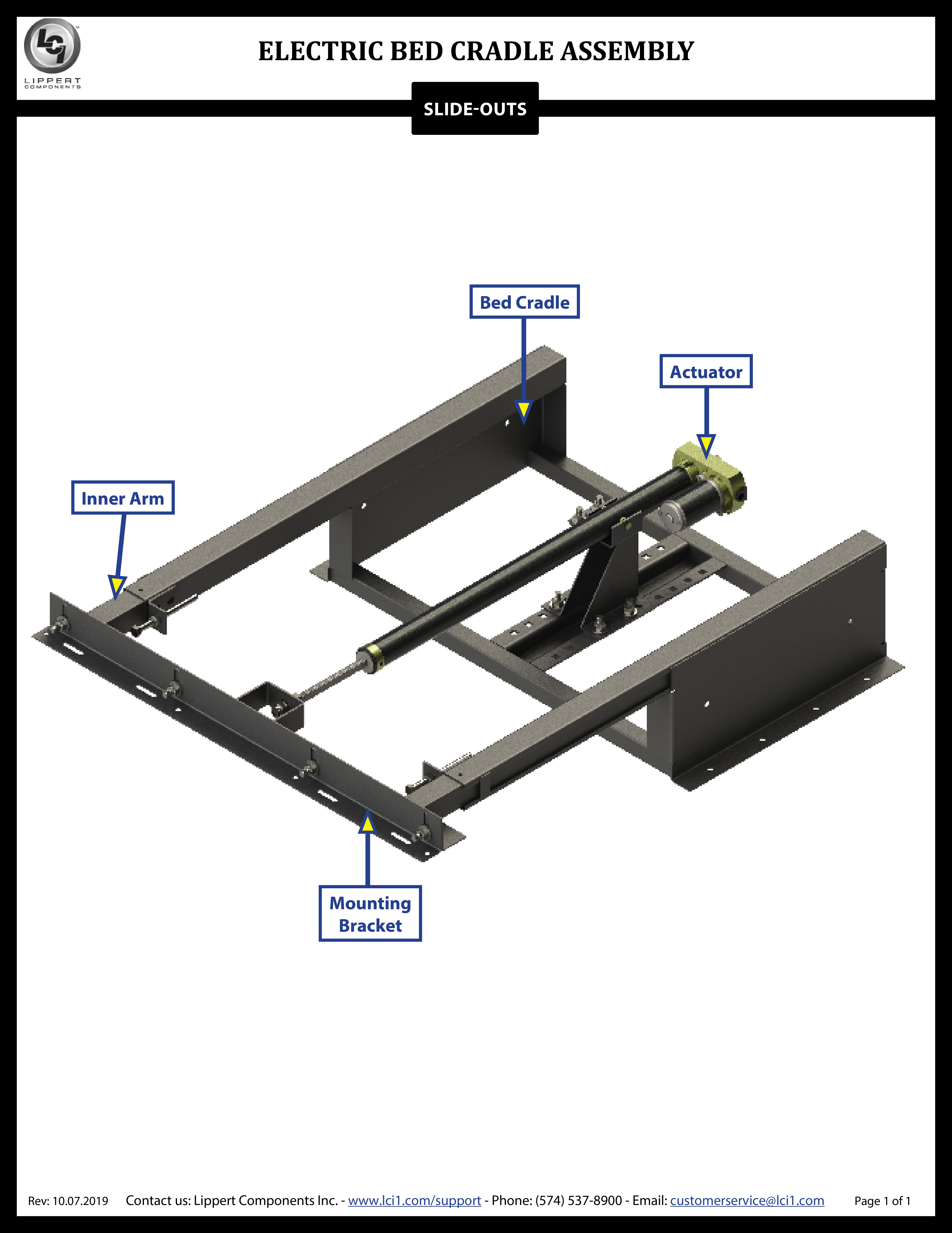 Electric Bed Cradle Slide-Out Assembly