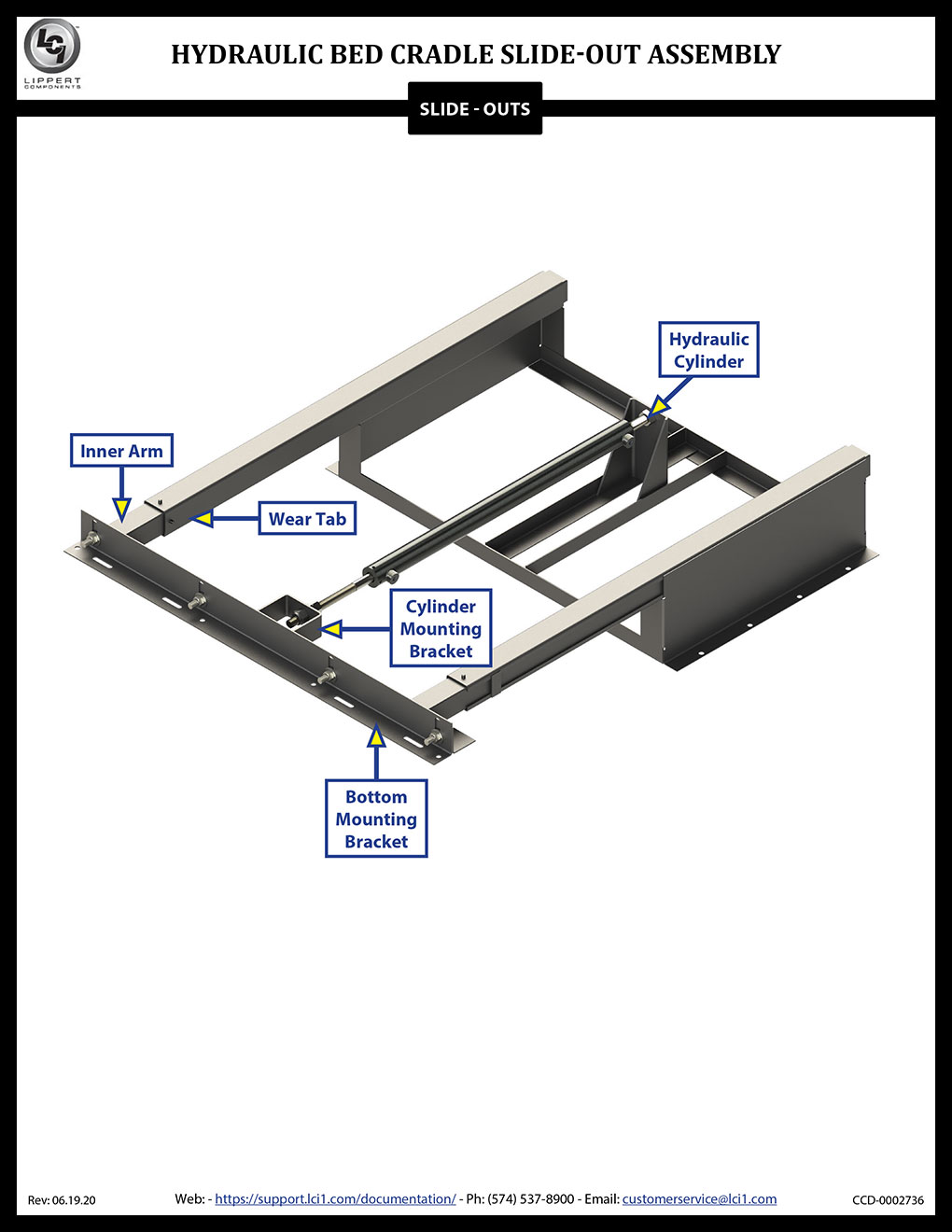 Hydraulic Bed Cradle Assembly