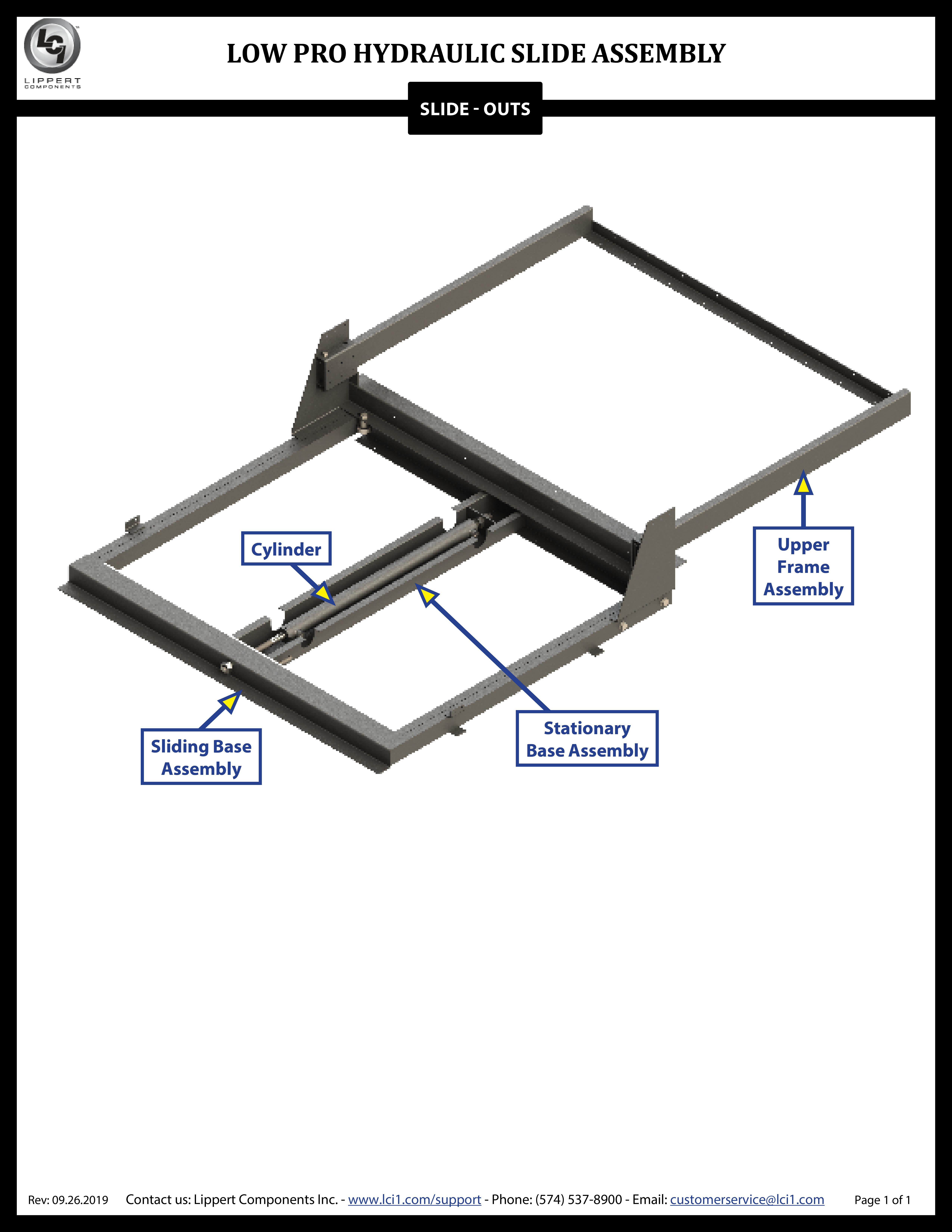 Hydraulic Low Profile Bed Slide Assembly