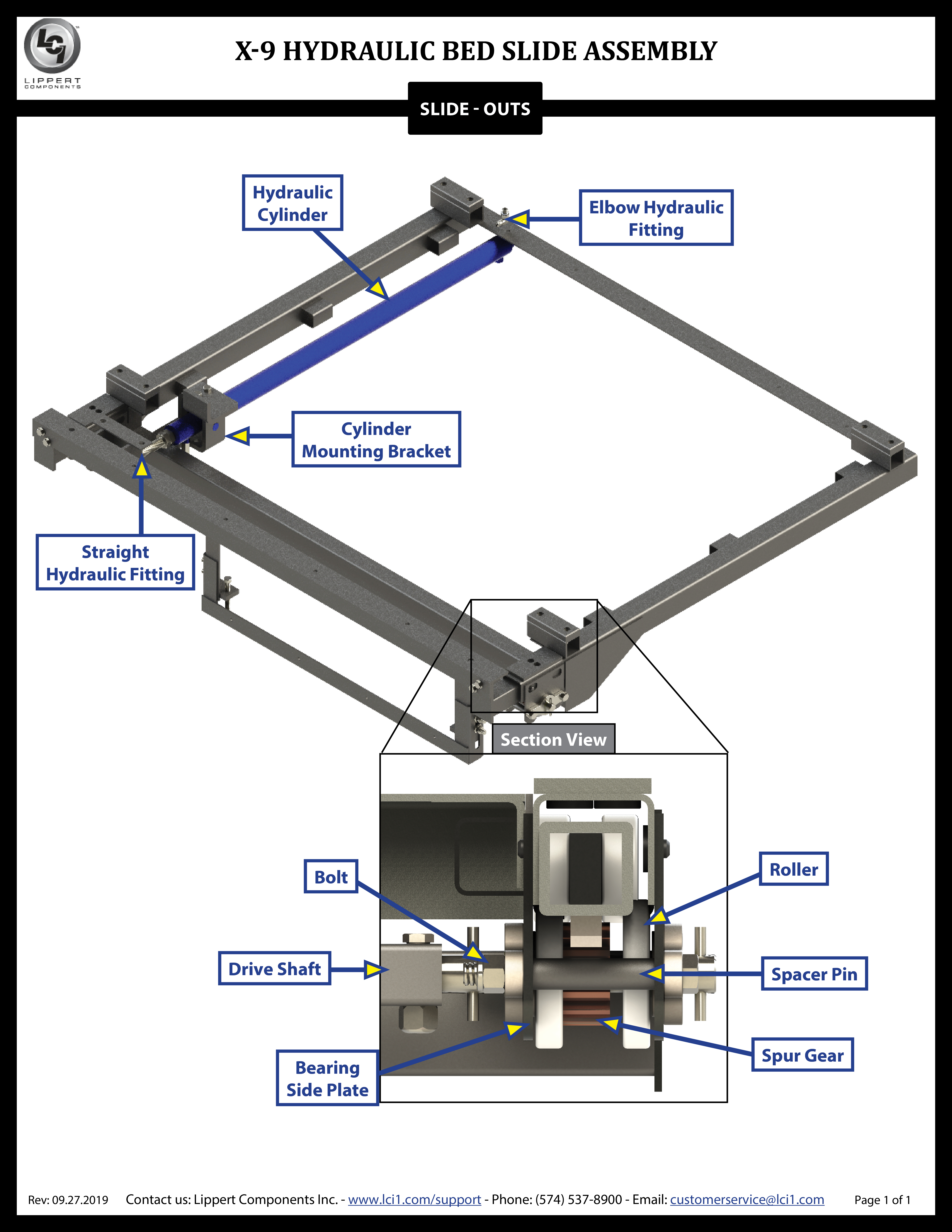 X-9 Hydraulic Bed Slide-Out System Assembly