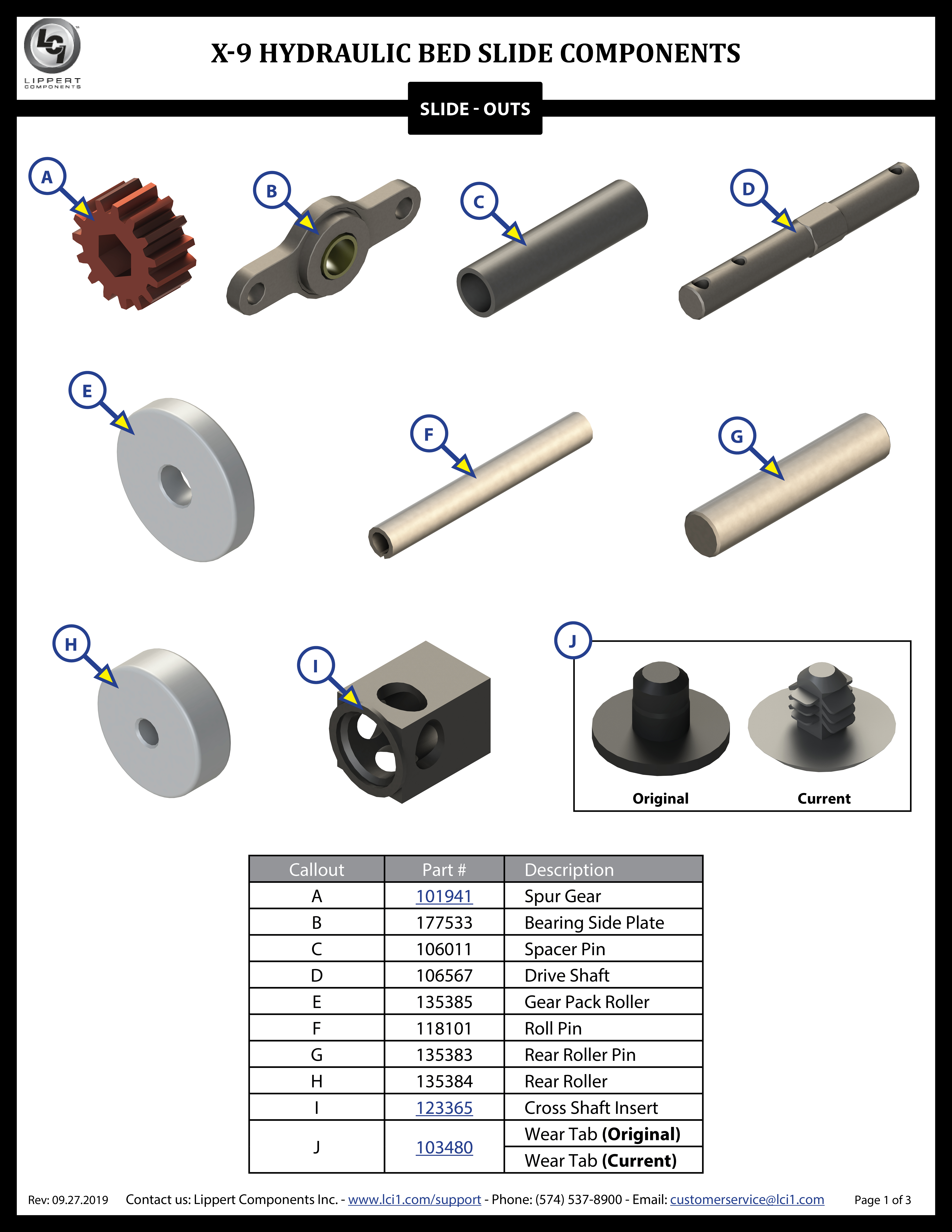 X-9 Hydraulic Bed Slide System Components