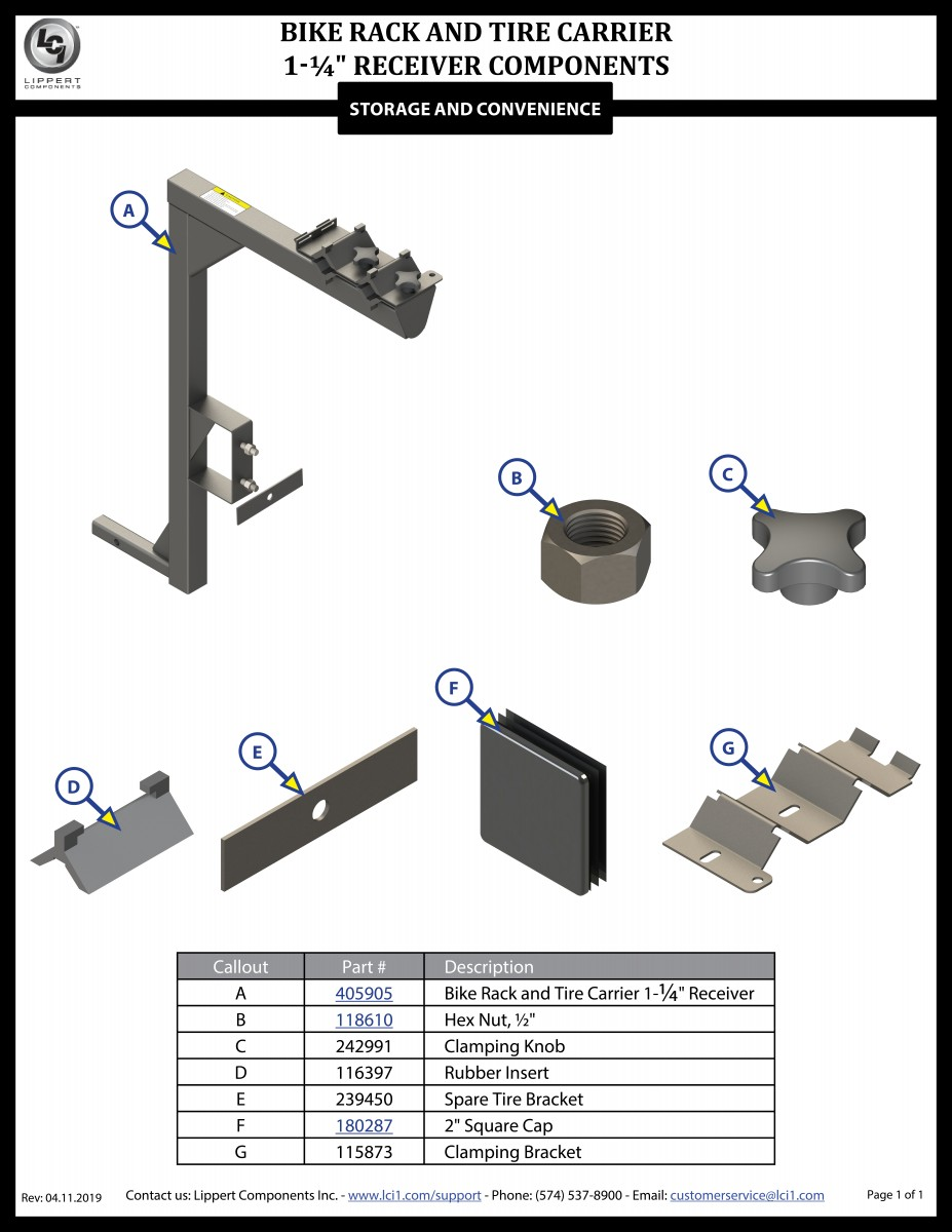 Bike Rack 1.25 Receiver Components